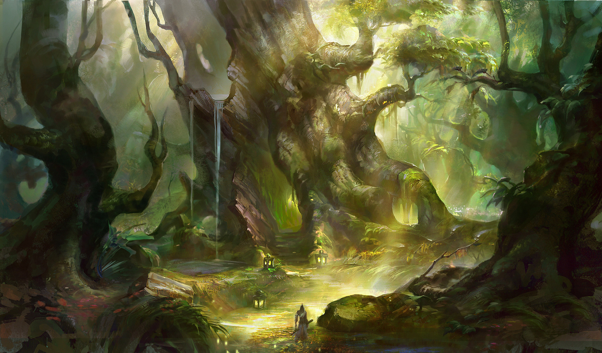 Fantasy – Adventure Forest Magical Town Wallpaper