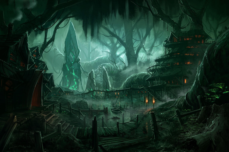 Fantasy Forest Village Night Wallpaper
