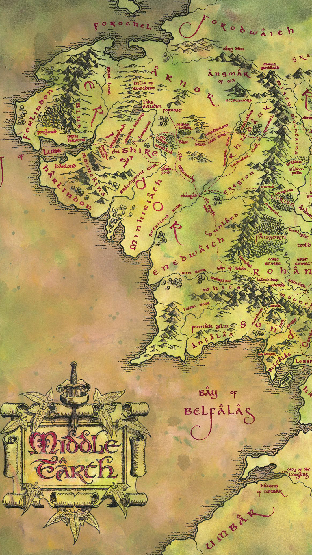 Middle-earth map – The Lord of the Rings Wallpaper