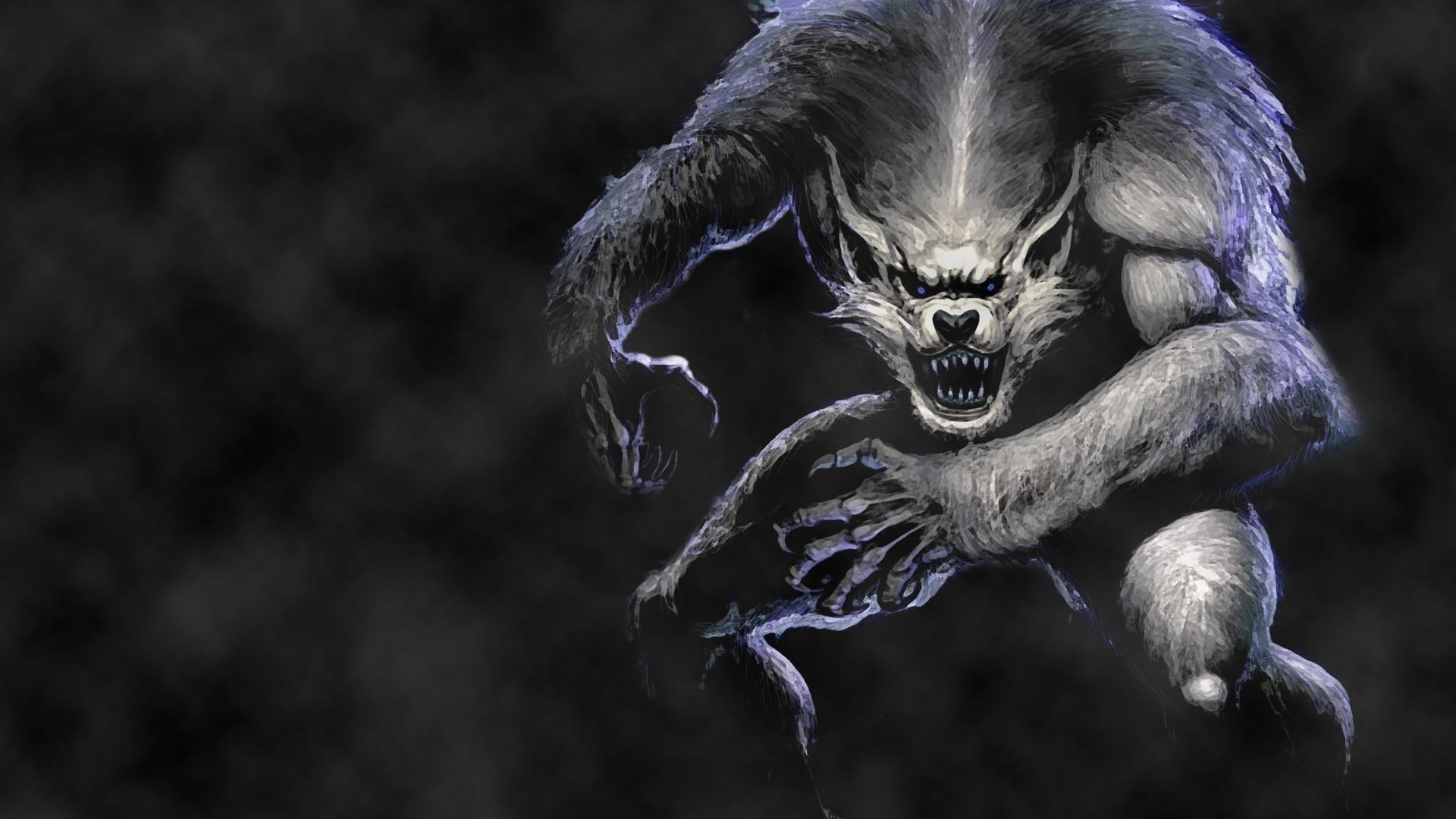 Preview wallpaper werewolf, wolf, jump, fog 1920×1080