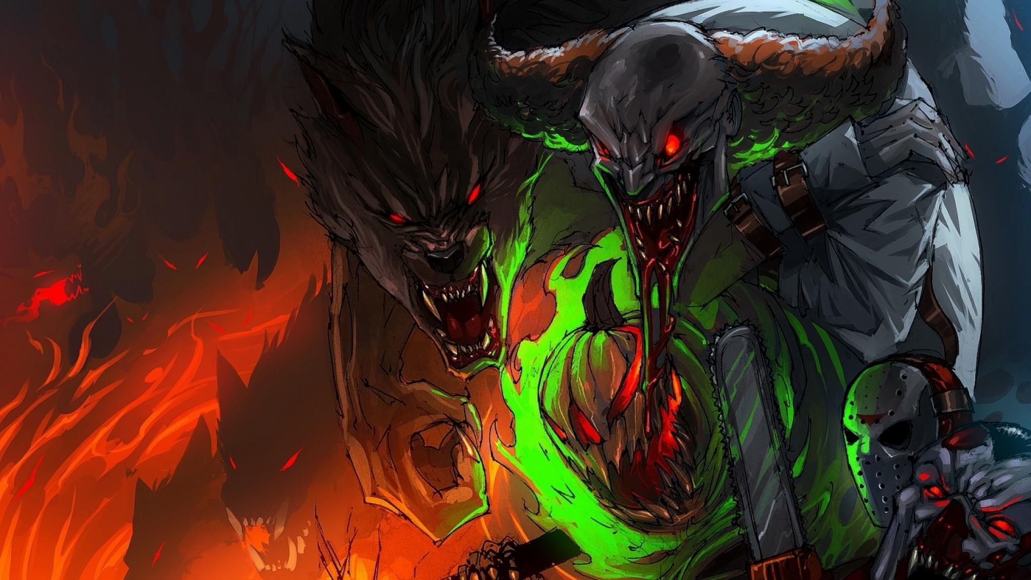Preview wallpaper halloween, art, jason voorhees, werewolf 2048×1152
