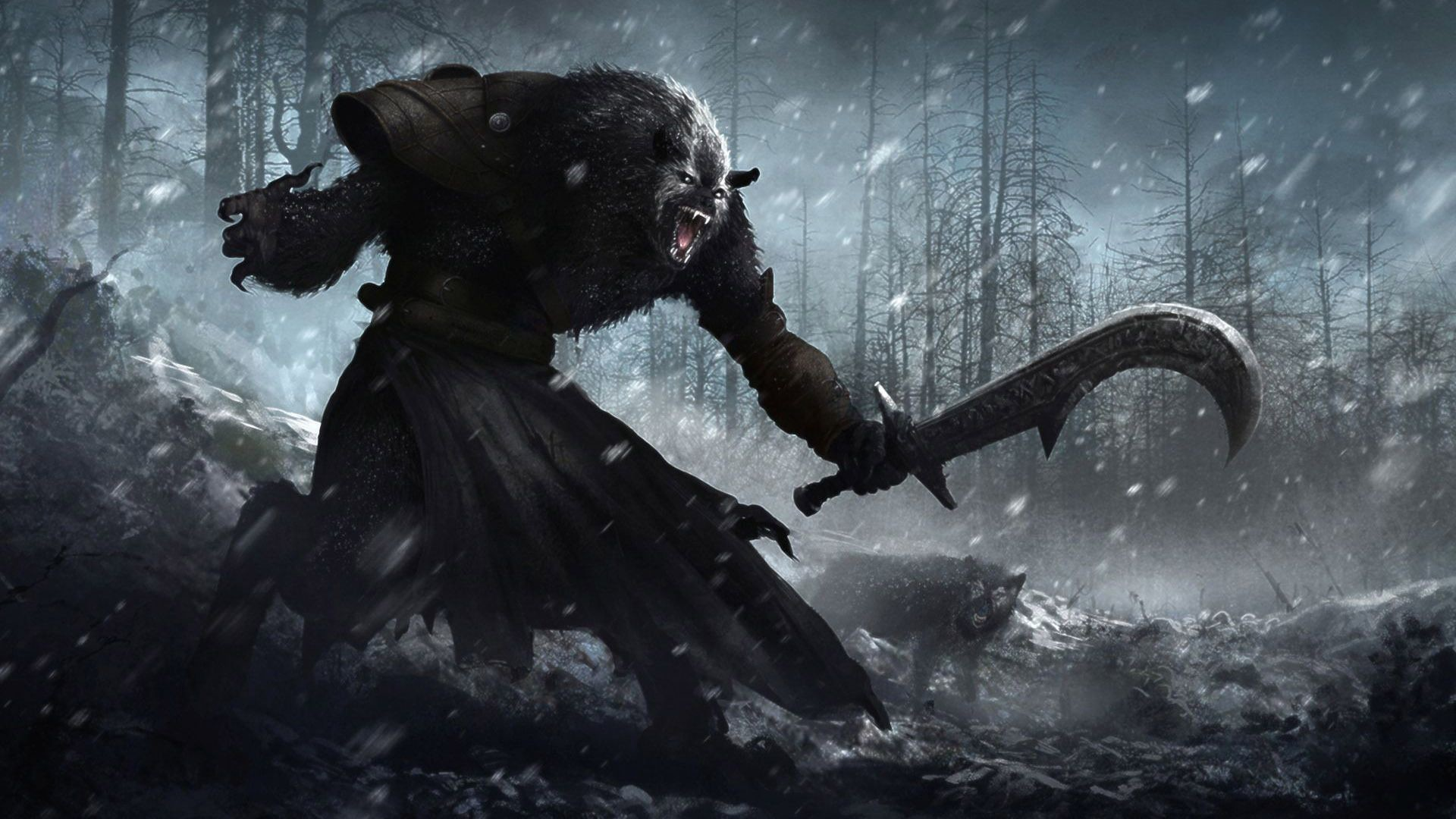 Werewolf with a machete, fantasy, HD Wallpaper and FREE .