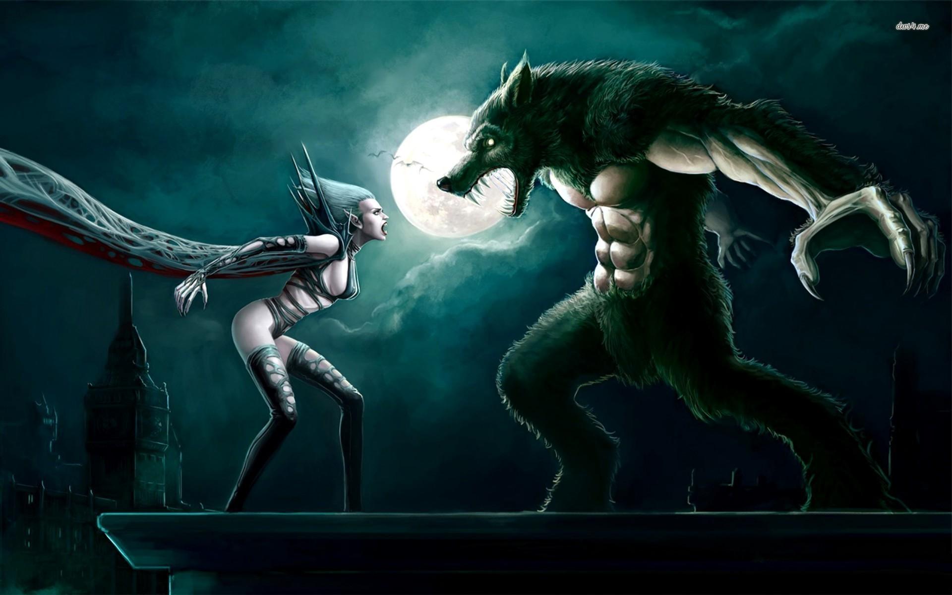 Vampire vs werewolf wallpaper – 976208