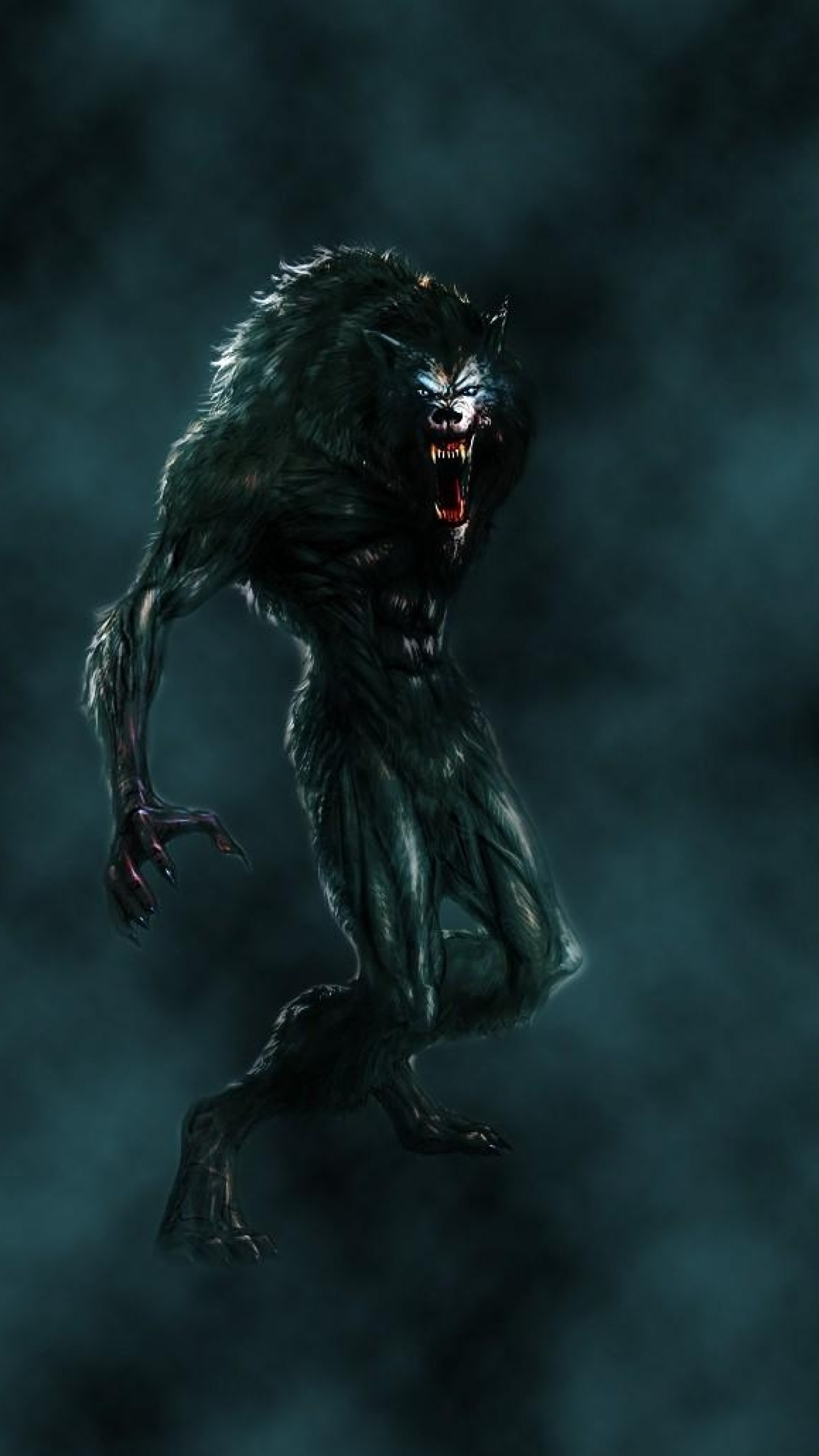 Preview wallpaper werewolf, mouth, fangs, flying, fog 1440×2560