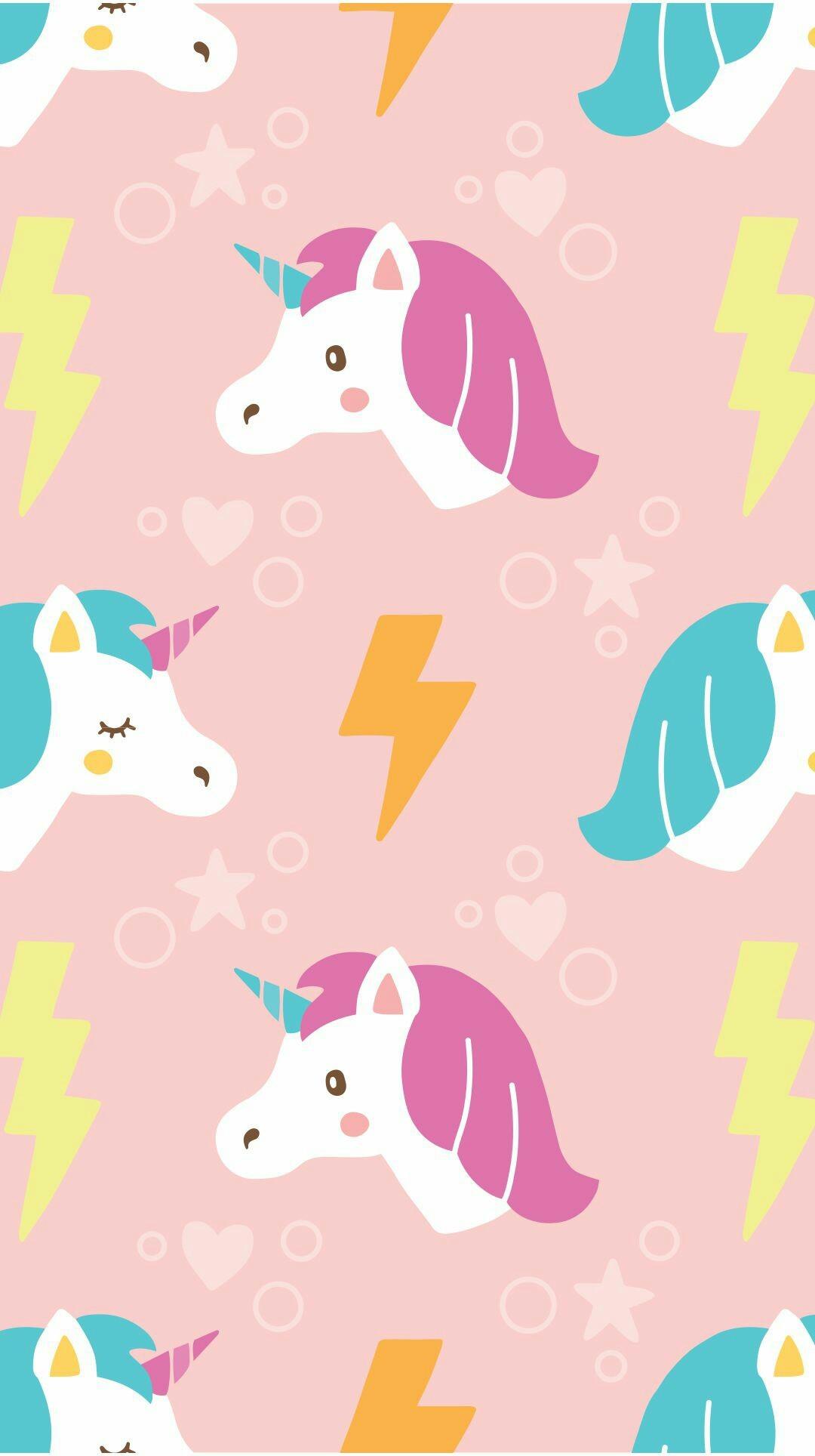 Hand drawn cute unicorn with lightning pattern