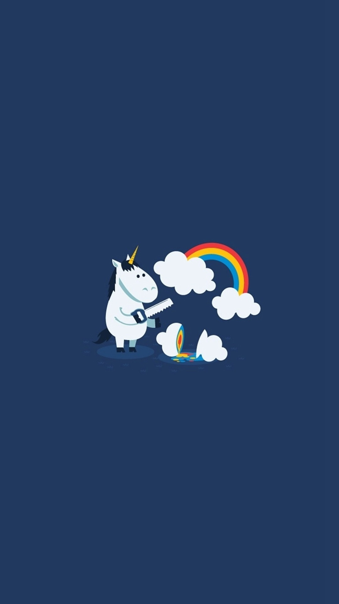 Unicorn Saw Clouds Rainbow Funny iPhone 6 Wallpaper Unicorn Saw.