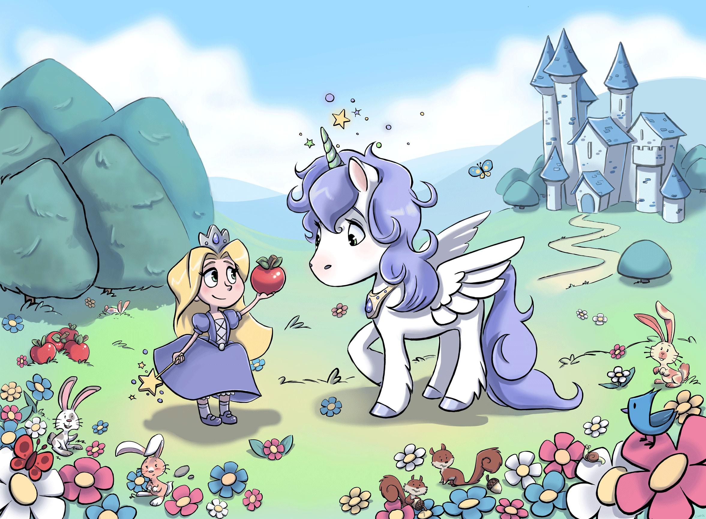 Little princess and unicorn wallpaper