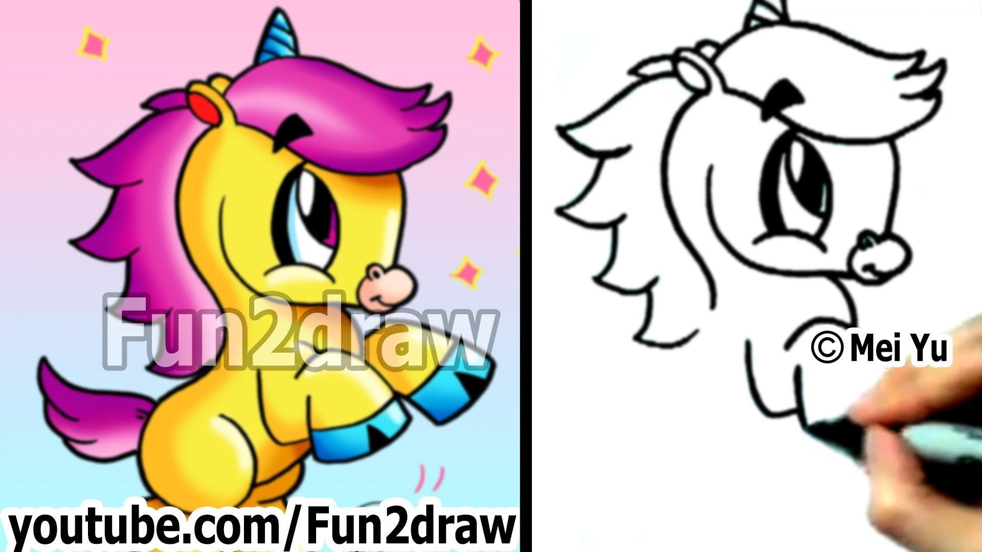 How to Draw Cartoon Animals : How to Draw an Unicorn – Cute Drawings –  Fun2draw – YouTube