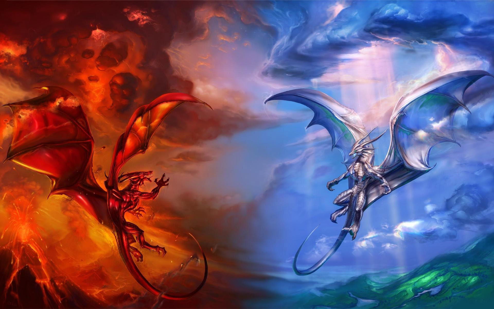 ice dragon vs fire dragon-World of fantasy art design HD wallpaper  Wallpapers View