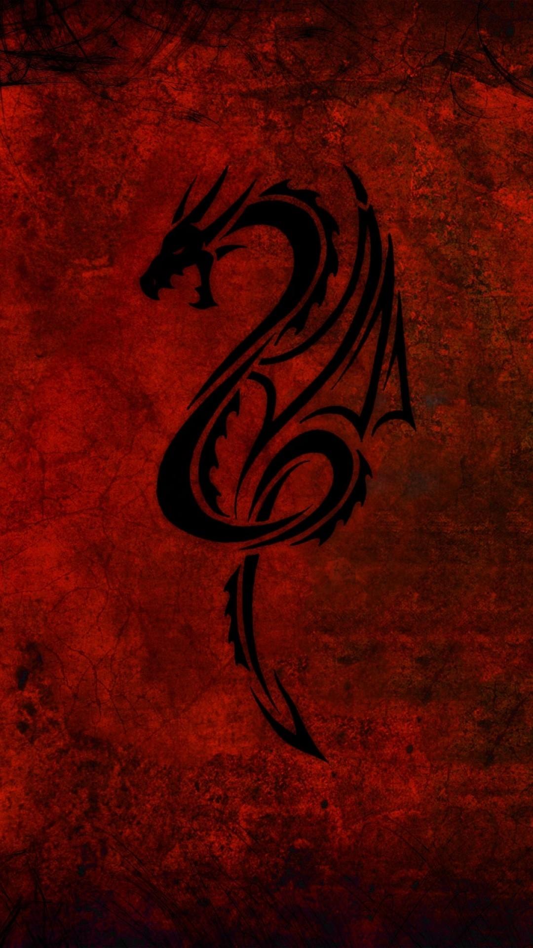 Preview wallpaper dragon, pattern, red, black 1080×1920
