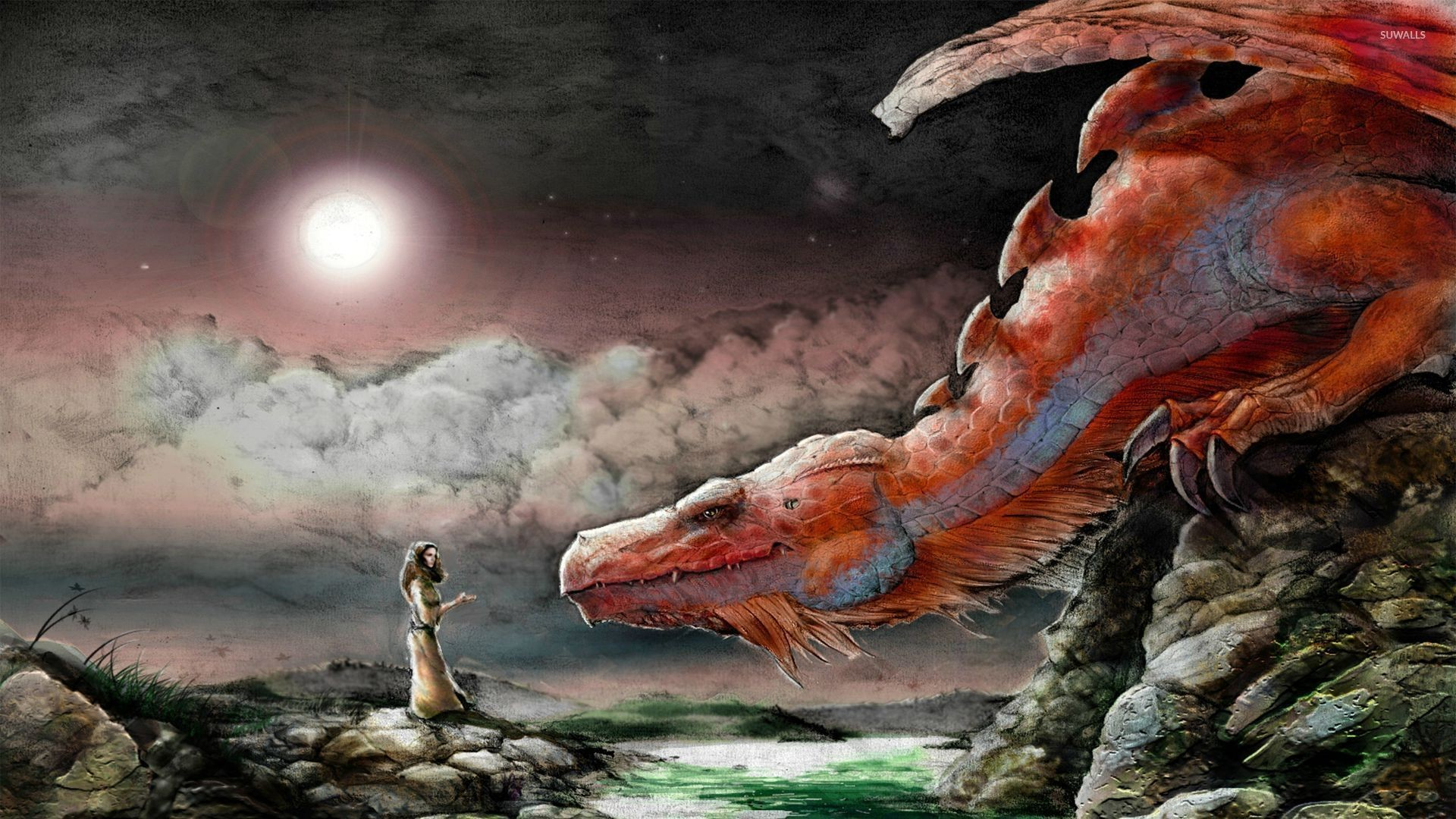 Woman and a red dragon wallpaper