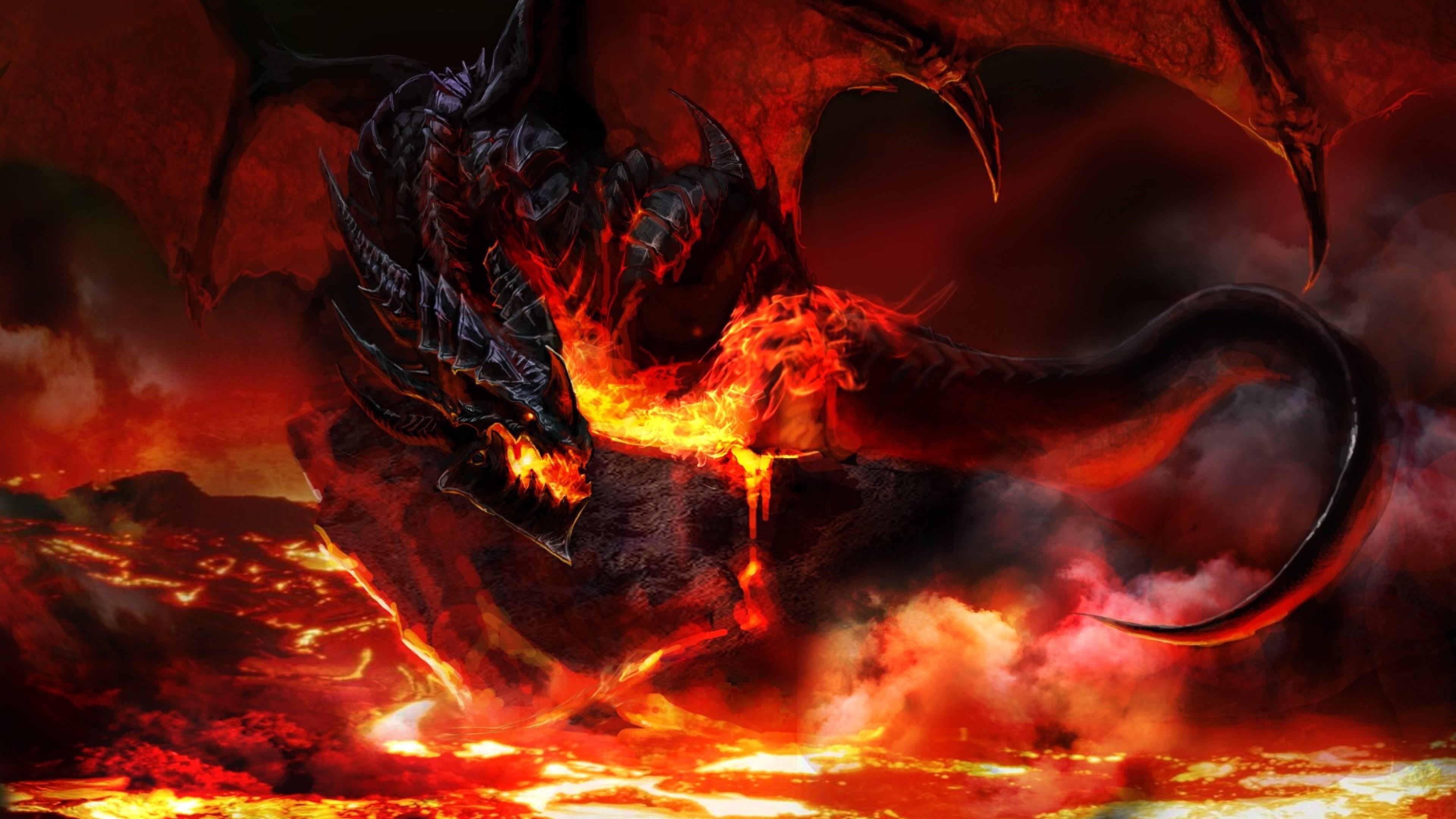 Download Wallpaper World of warcraft, Dragon, Fire, Tail 4K .