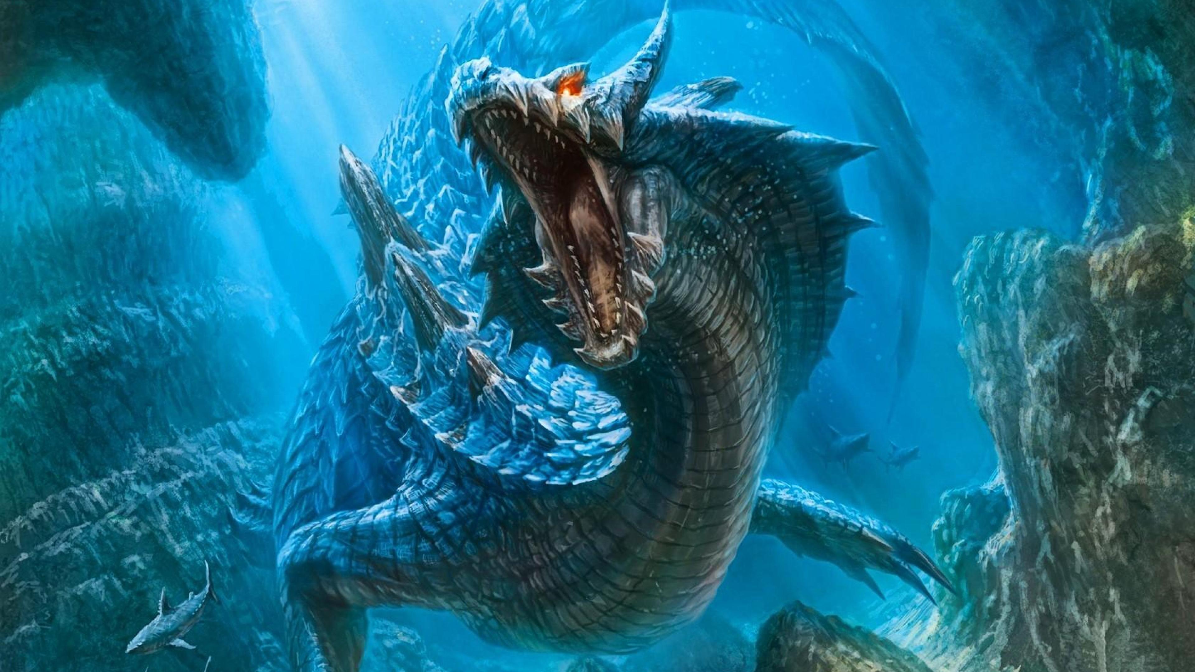 Lagiacrus Dragon Sea Shark Water Monster hunter HD Wallpapers .