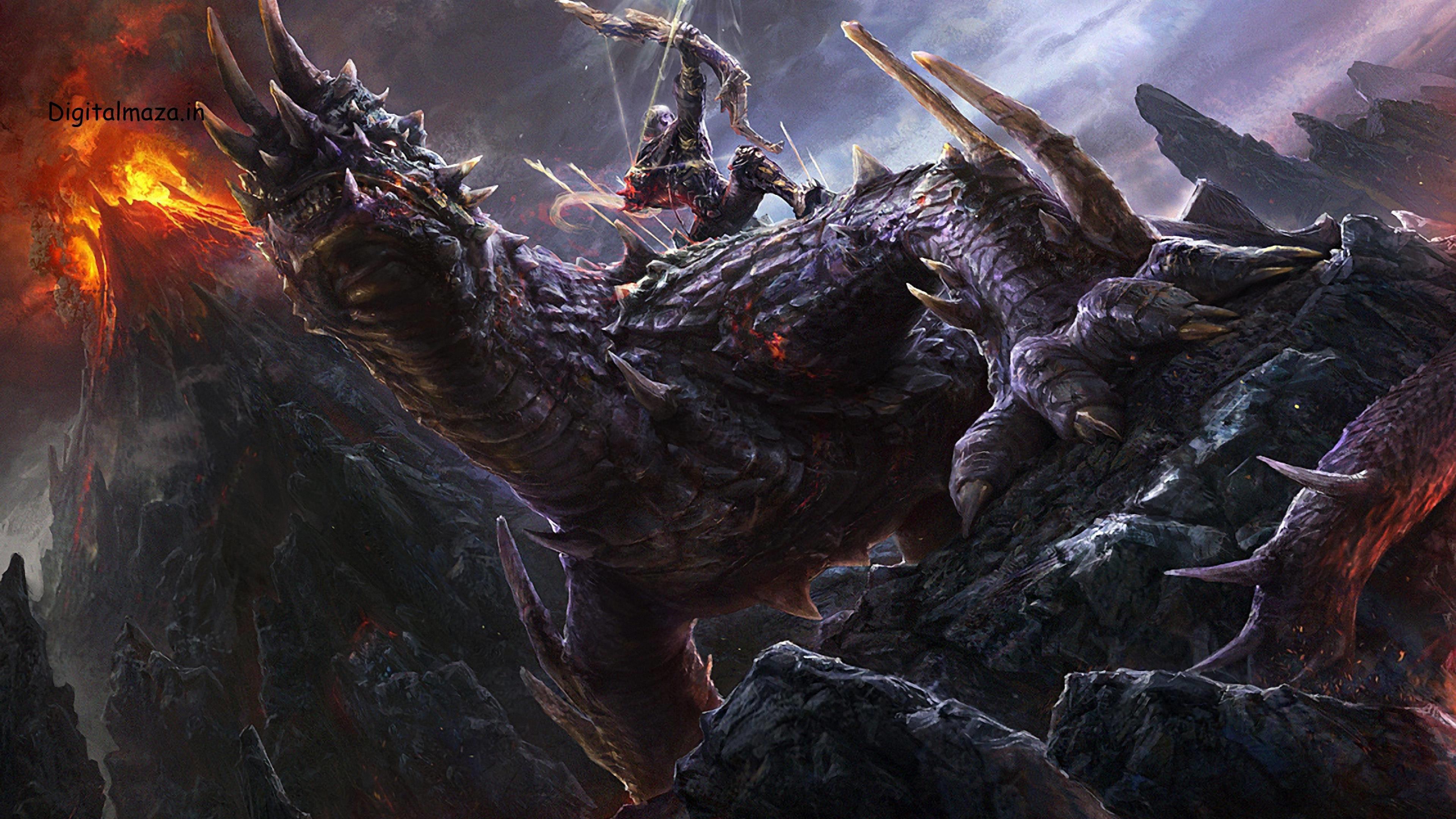 … 26 Amazing 4K Ultra HD Dragon Fantasy Computer Desktop Wallpapers .