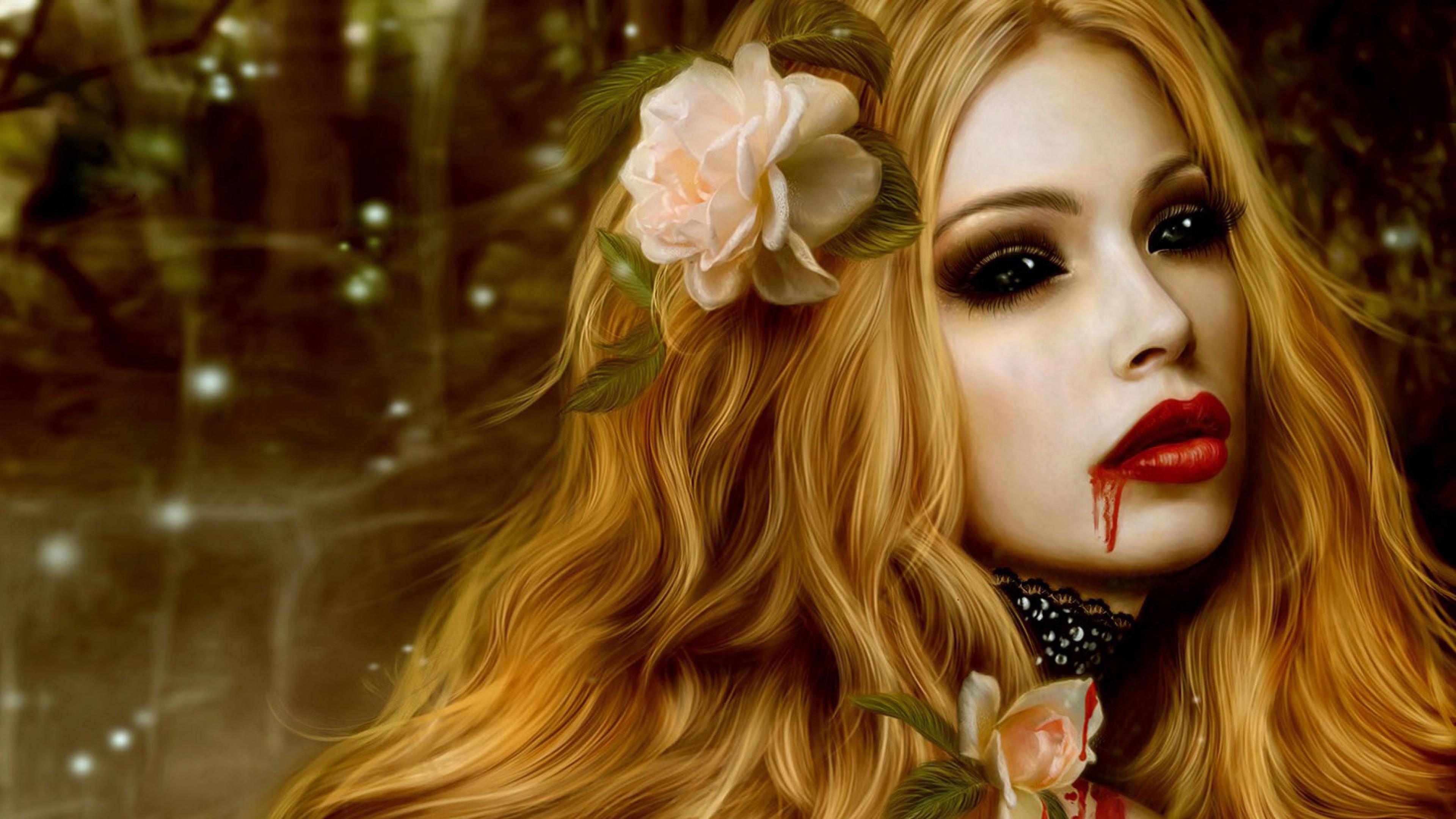 Preview wallpaper vampire, blood, flowers, girl, lips 3840×2160