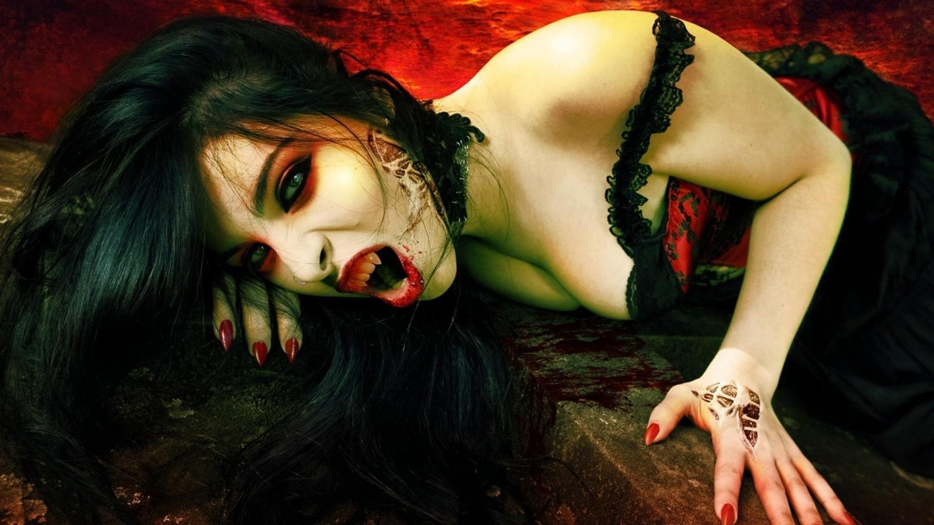 Preview wallpaper vampire, teeth, girl, brunette 1920×1080