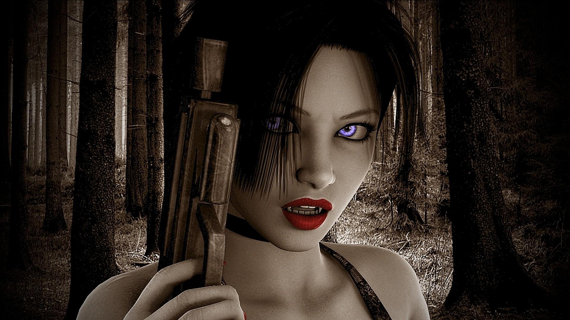 Girls With Guns Weapon Gun Girls Girl Sexy Babe Dark Vampire D Wallpaper At  Dark Wallpapers