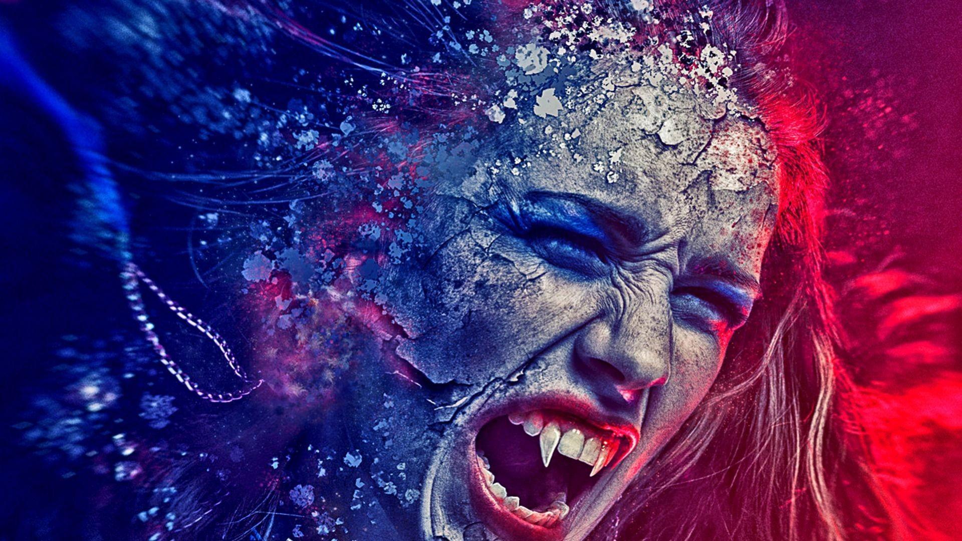 Angry female vampire wallpaper