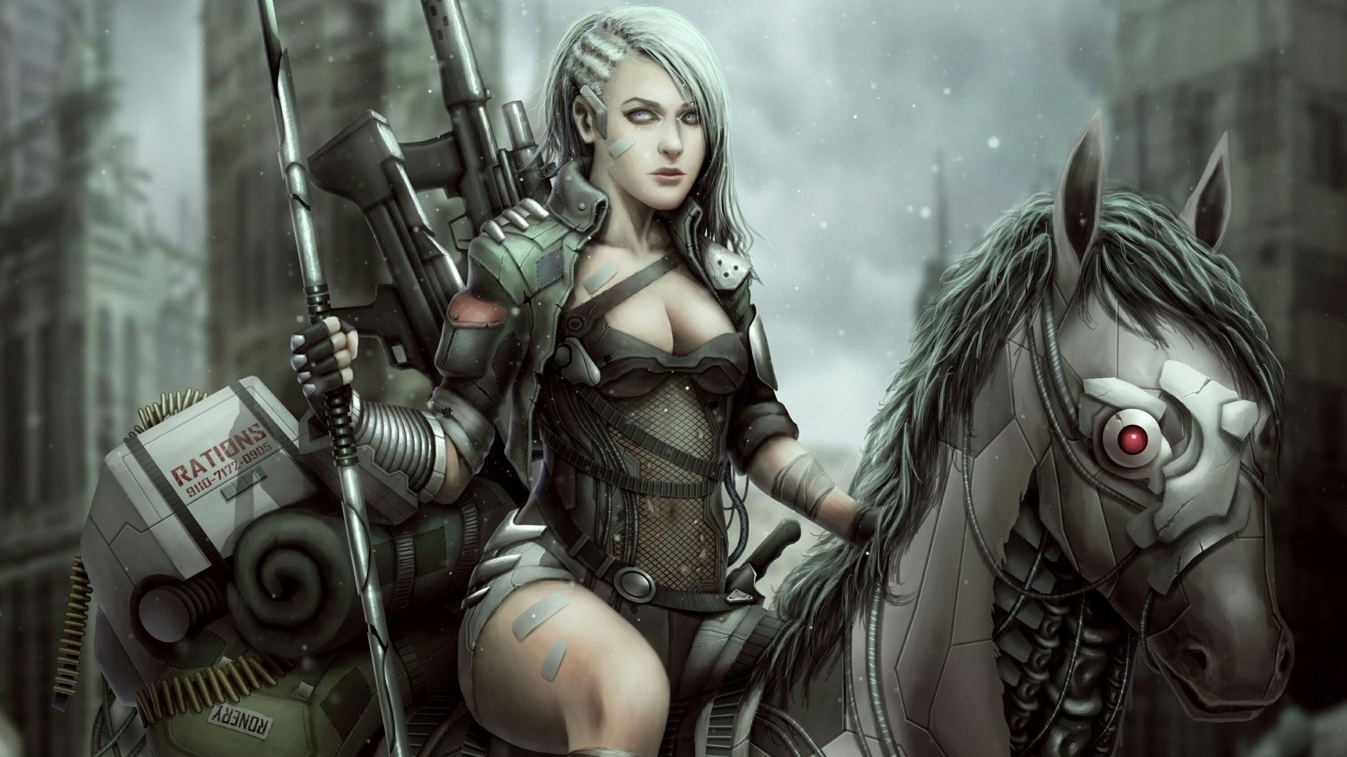 Fantasy Women Warrior Fallout 4 Horse Robot Woman Warrior White Hair Post  Apocalyptic Wallpaper