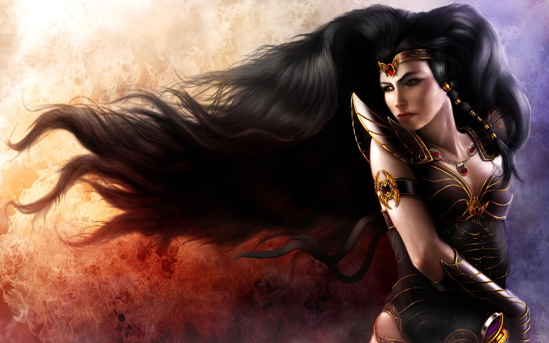 Fantasy – Women Warrior Long Hair Armor Headband Sword Woman Warrior Girl  Woman Black Hair Fantasy