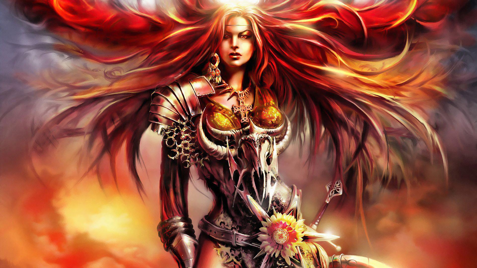 Fantasy – Women Warrior Red Hair Fantasy Woman Warrior Woman Girl Armor  Long Hair Red Eyes