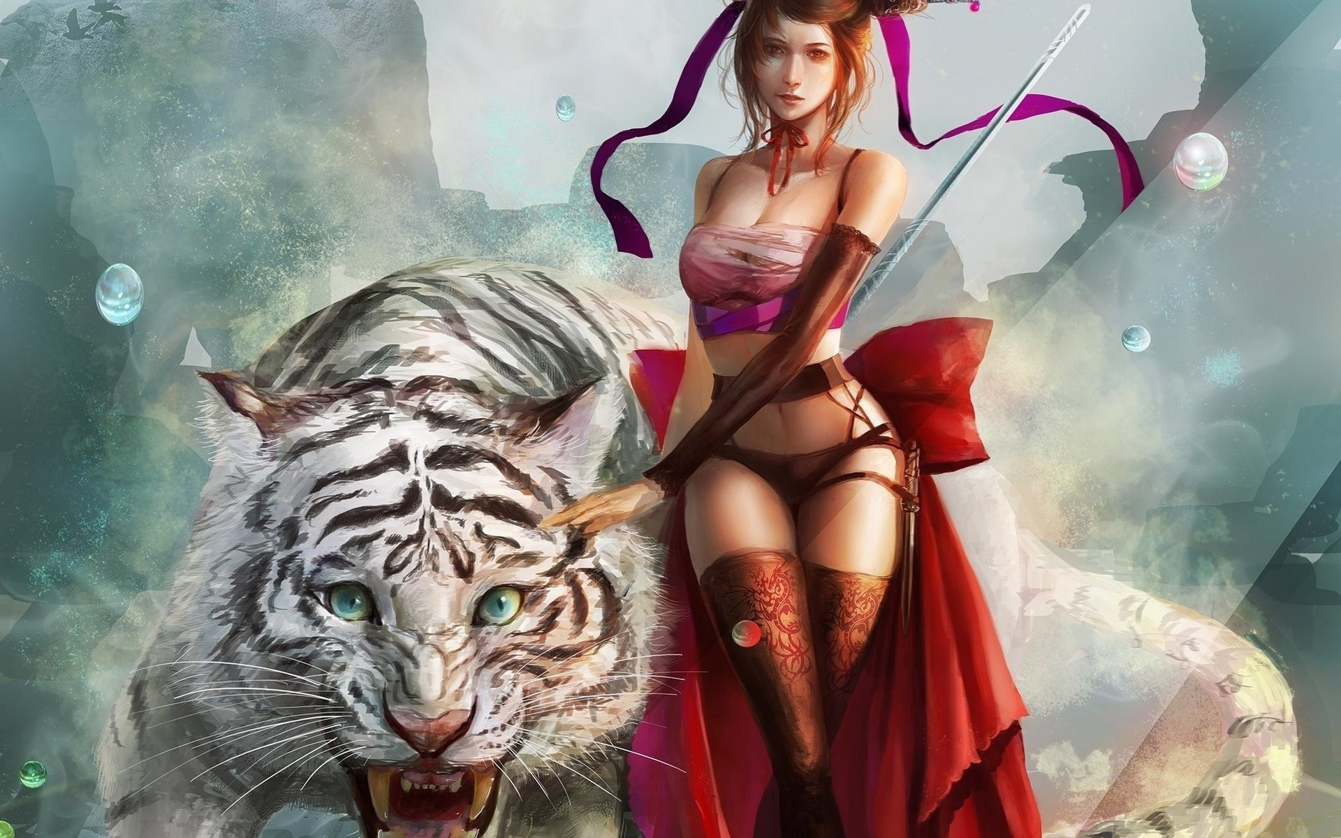 Fantasy – Women Warrior Tiger White Tiger Wallpaper