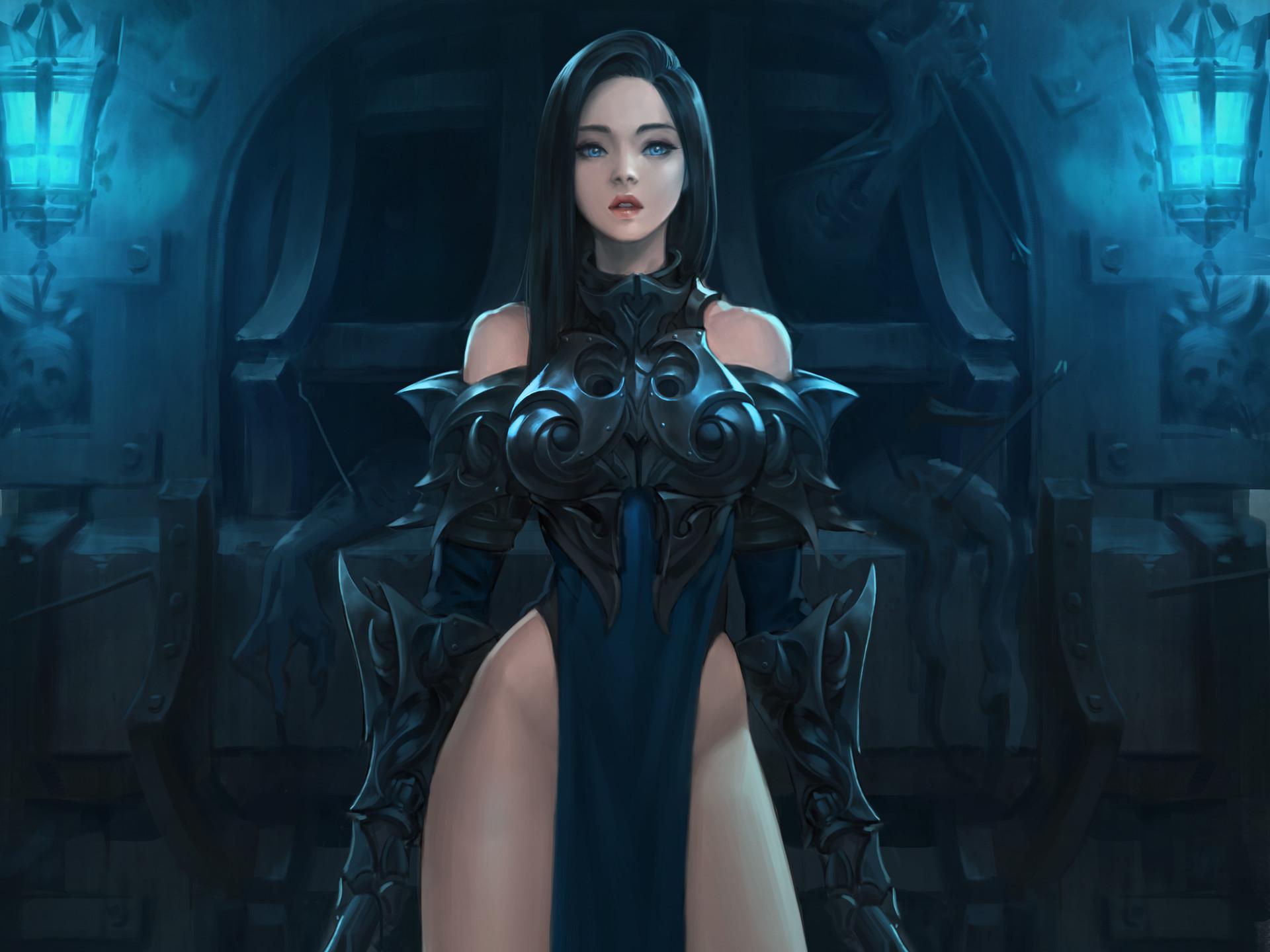 Fantasy – Women Warrior Black Hair Armor Blue Eyes Fantasy Woman Girl Warrior  Wallpaper