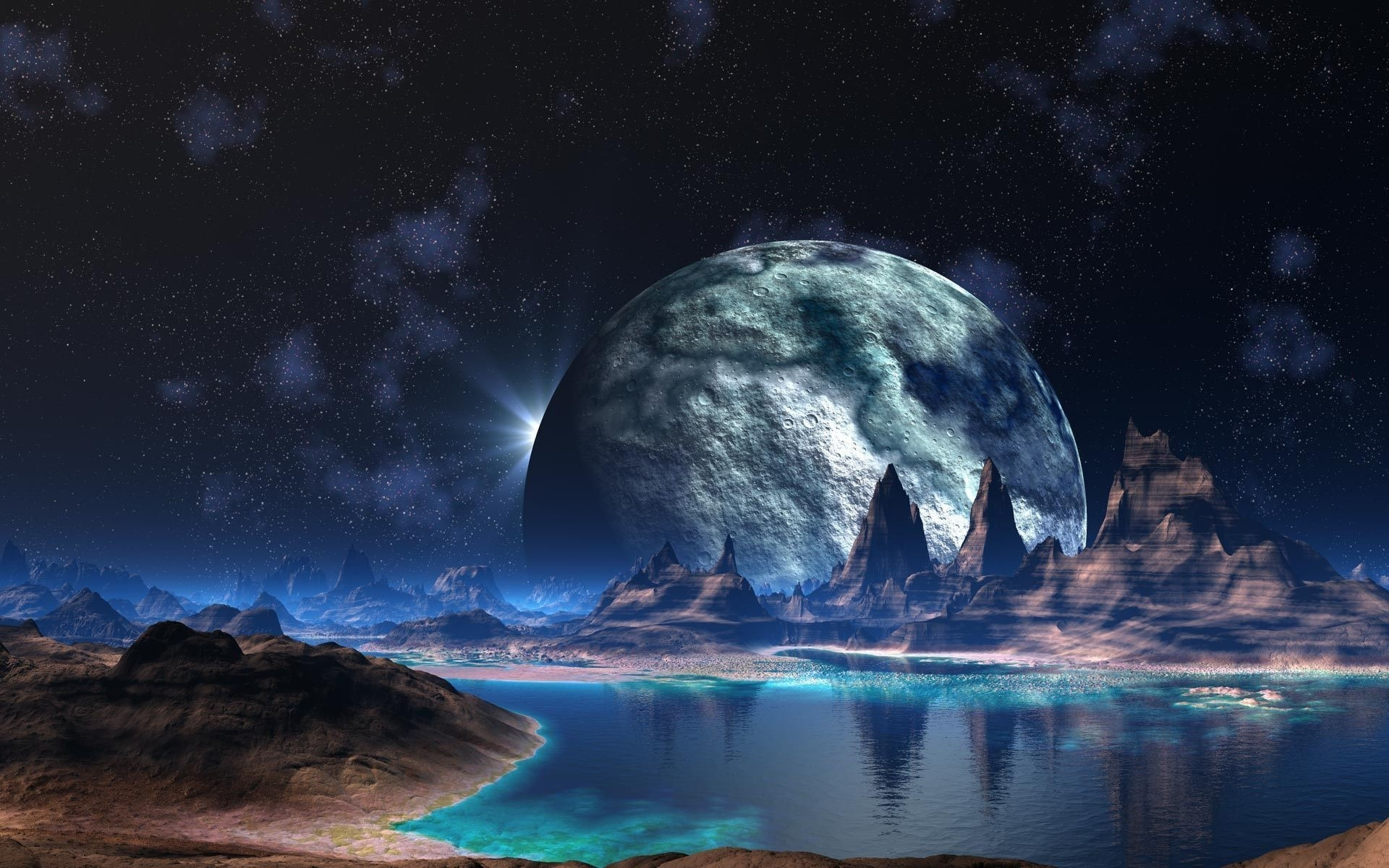 Fantasy moon astronomy water travel planet ocean sky exploration HD  wallpaper. Android wallpapers for free.