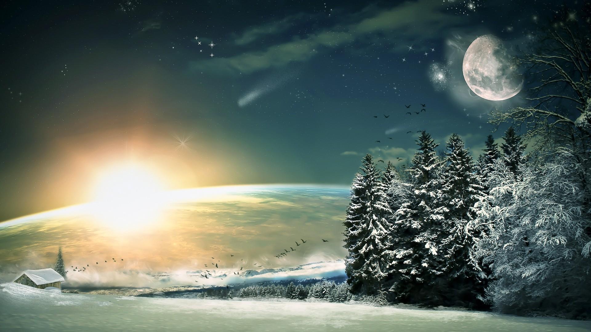 Preview wallpaper moon, stars, night, fantasy, landscape, painting, art,