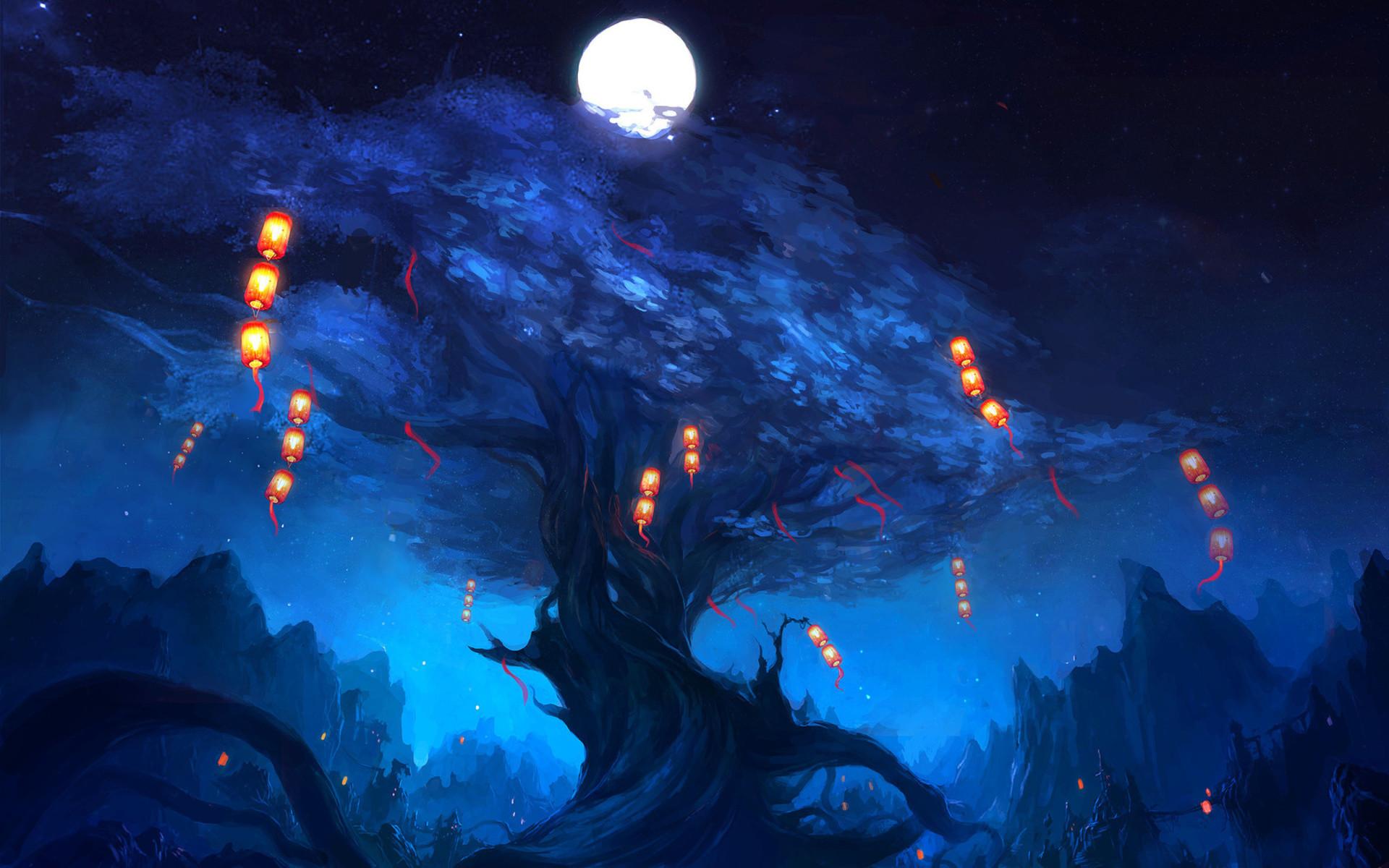 Night rock art tree lanterns lights the moon wallpaper