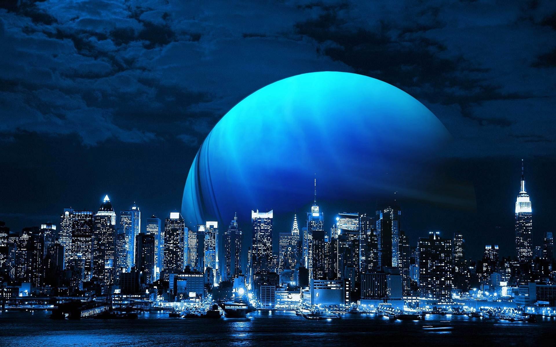Fantasy – Moon Fantasy City Blue Planet Skyscraper Wallpaper