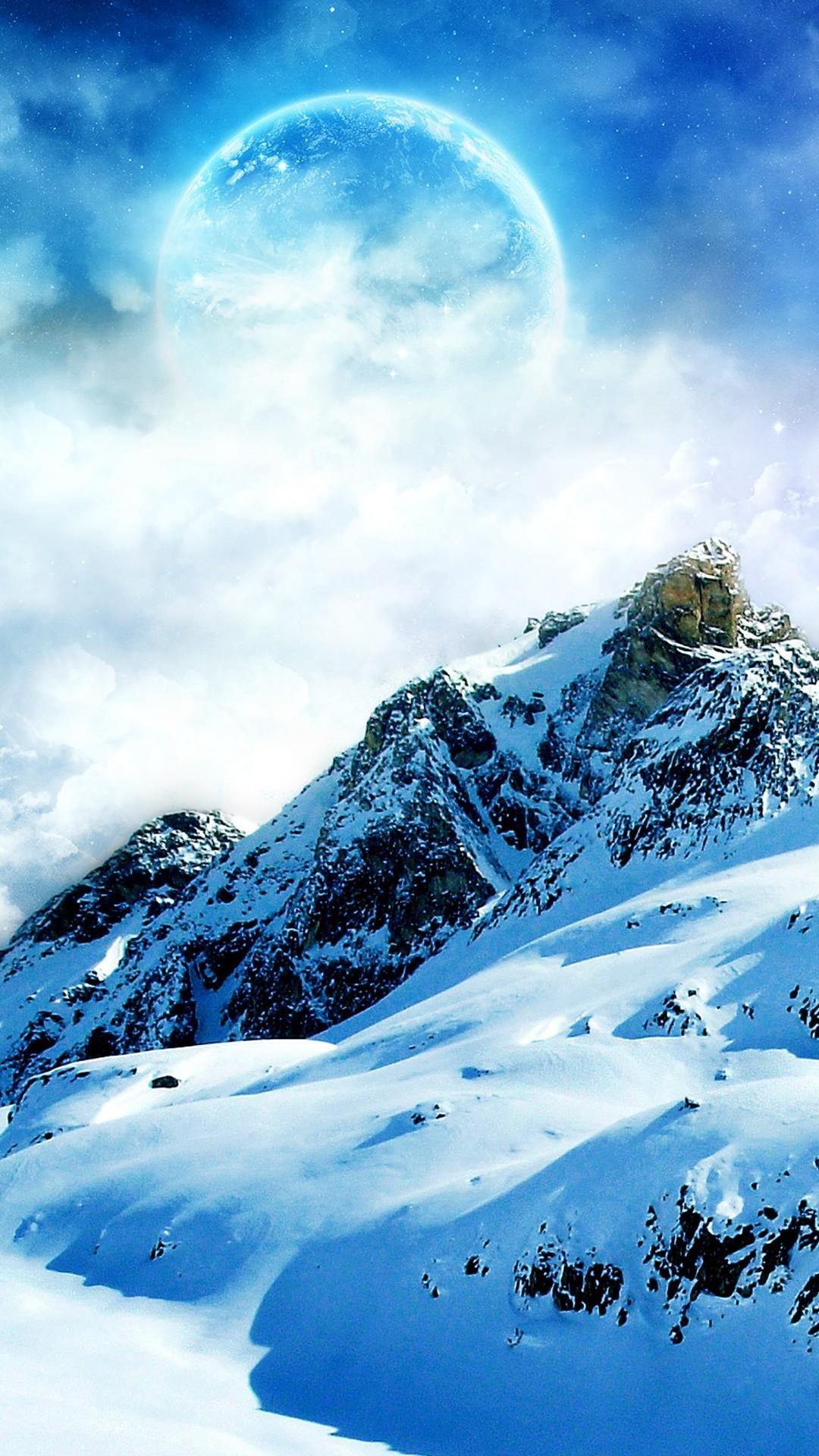 Mountain Fantasy Moon Snowy Landscape iPhone 8 wallpaper