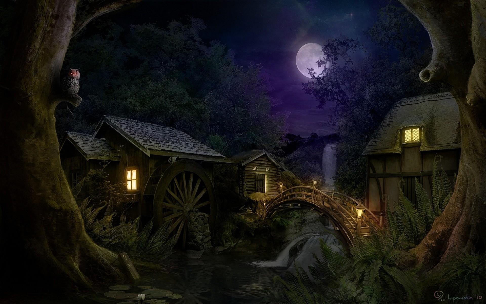 night, house, moon, bridge, waterfall, fantasy