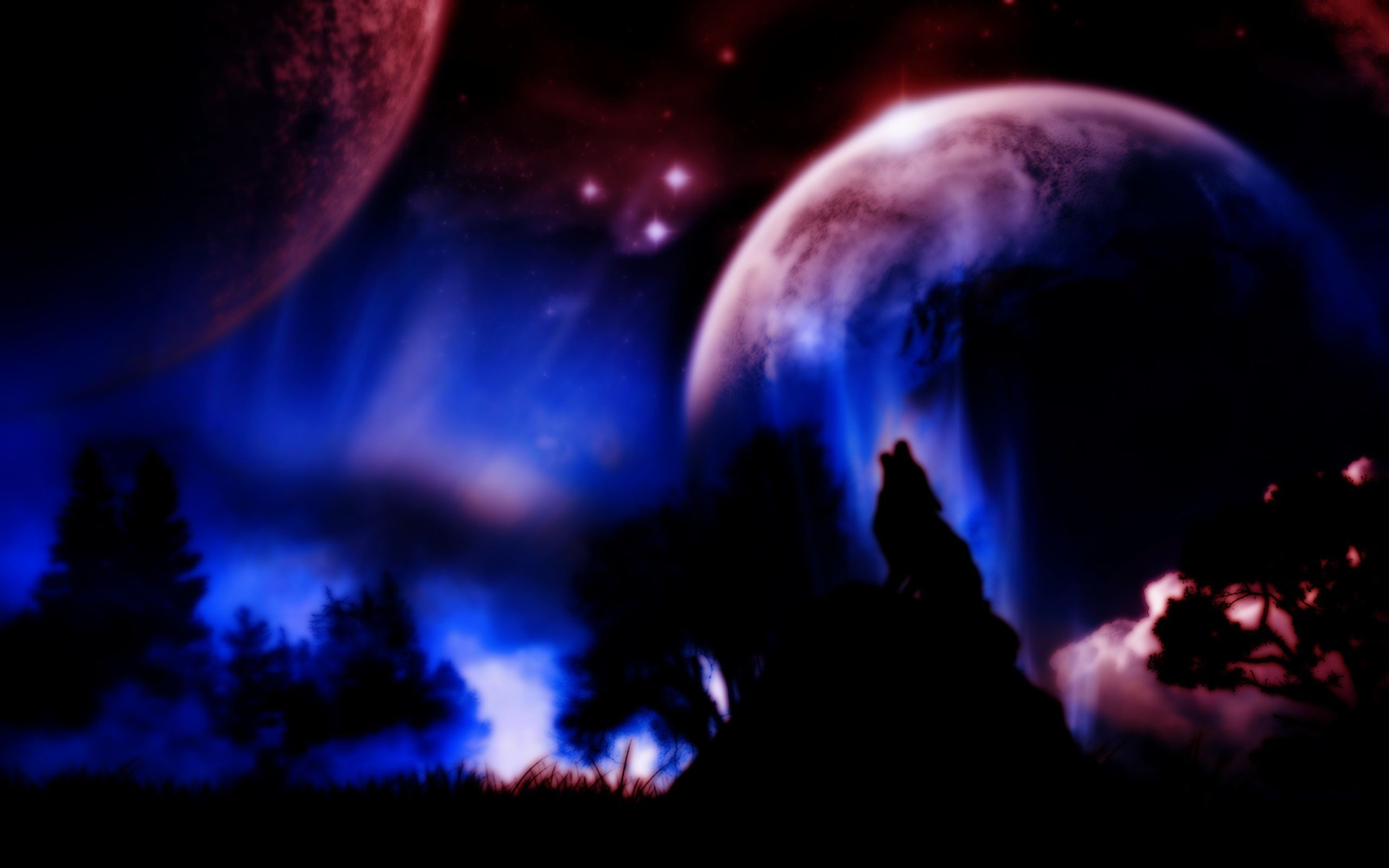 Wolf howling at the moon, planet, night, fantasy, HD .