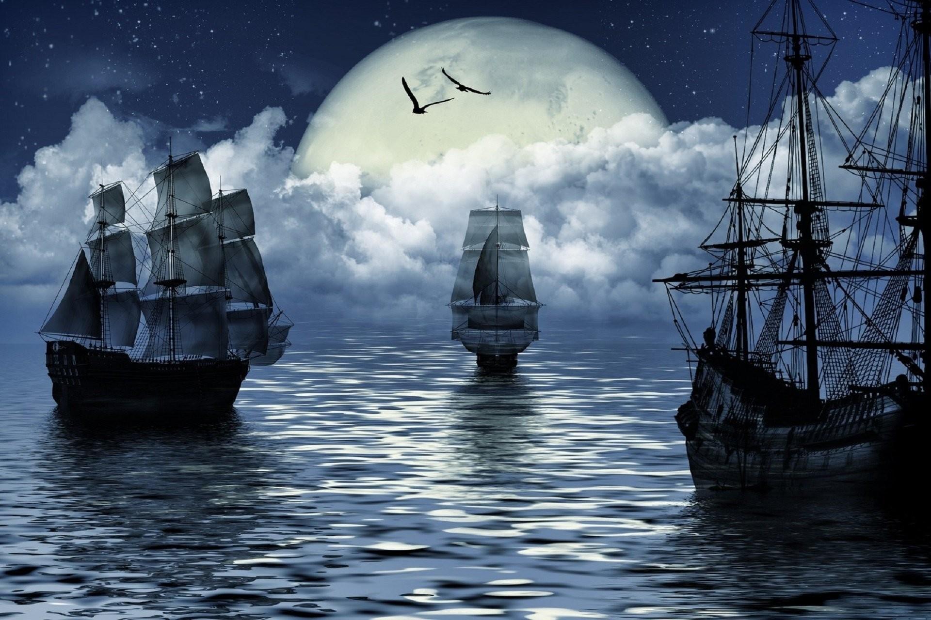 fantasy moon sailing sea ship fantasy moon sailing sea ship
