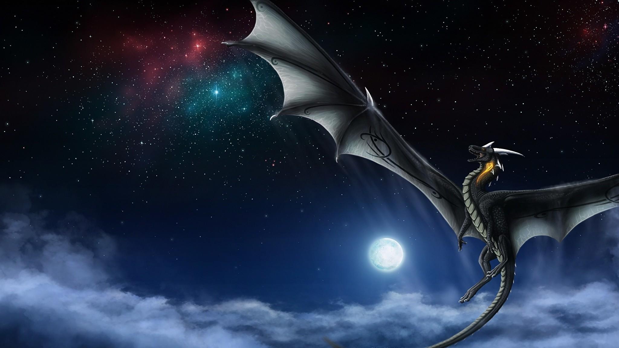 Wallpaper Dragons Fantasy Sky Moon 2048×1152