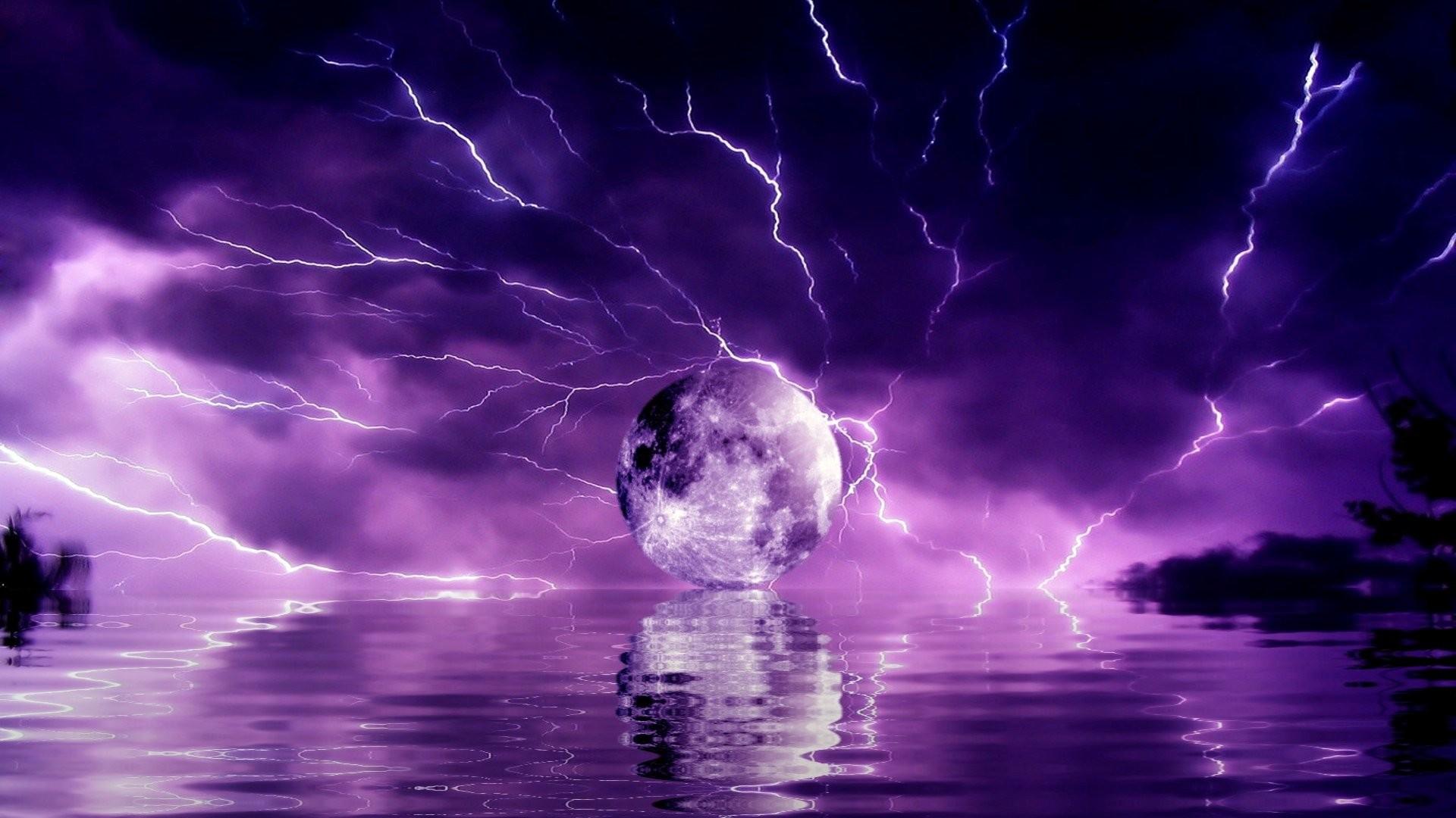Storm Weather Rain Sky Clouds Nature Sea Ocean Moon Fantasy Sci-fi  Lightning Artwork Reflection Wallpaper At 3d Wallpapers