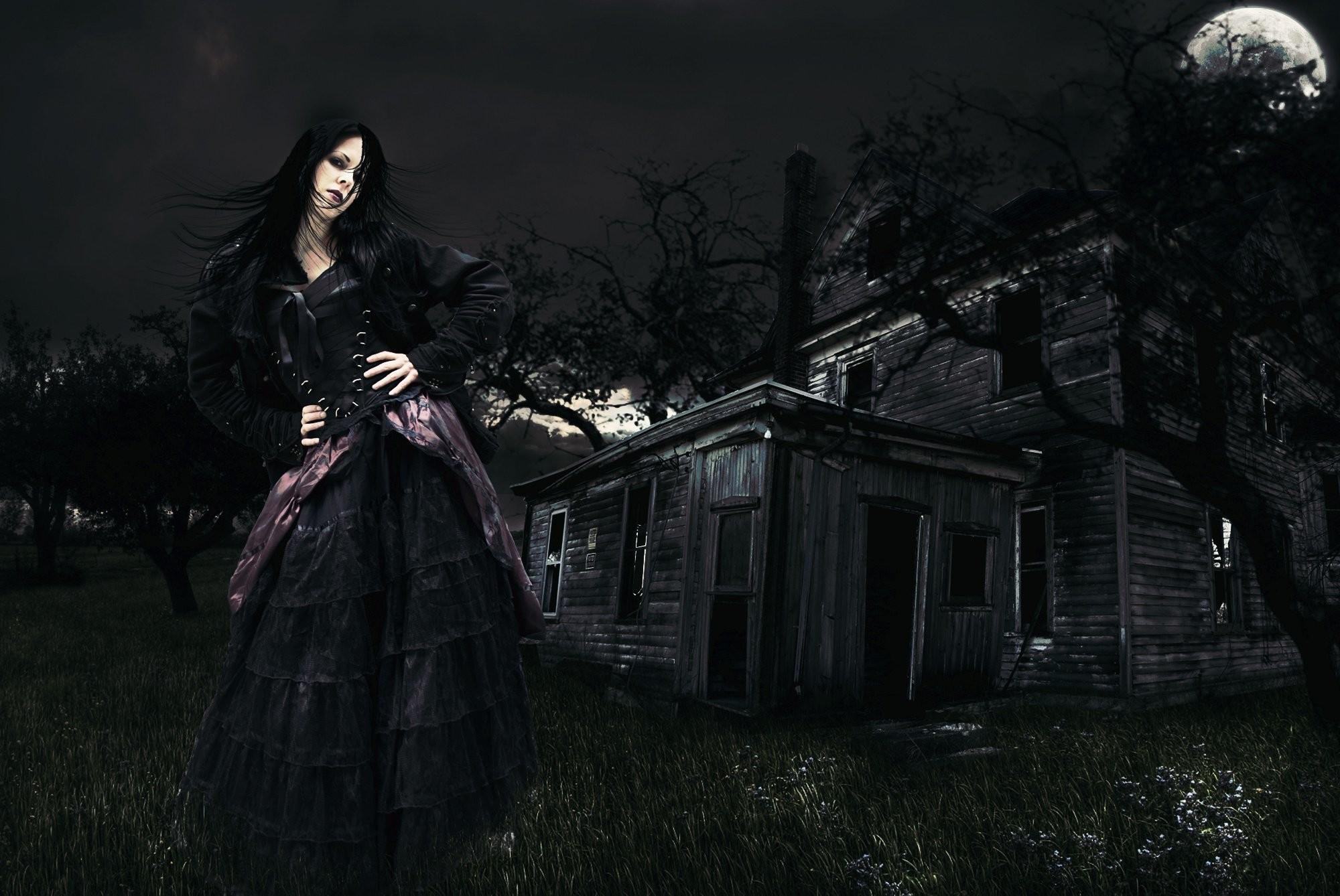 Night Moon Beautiful Witch Dark Fantasy Gothic Wallpaper At Dark Wallpapers