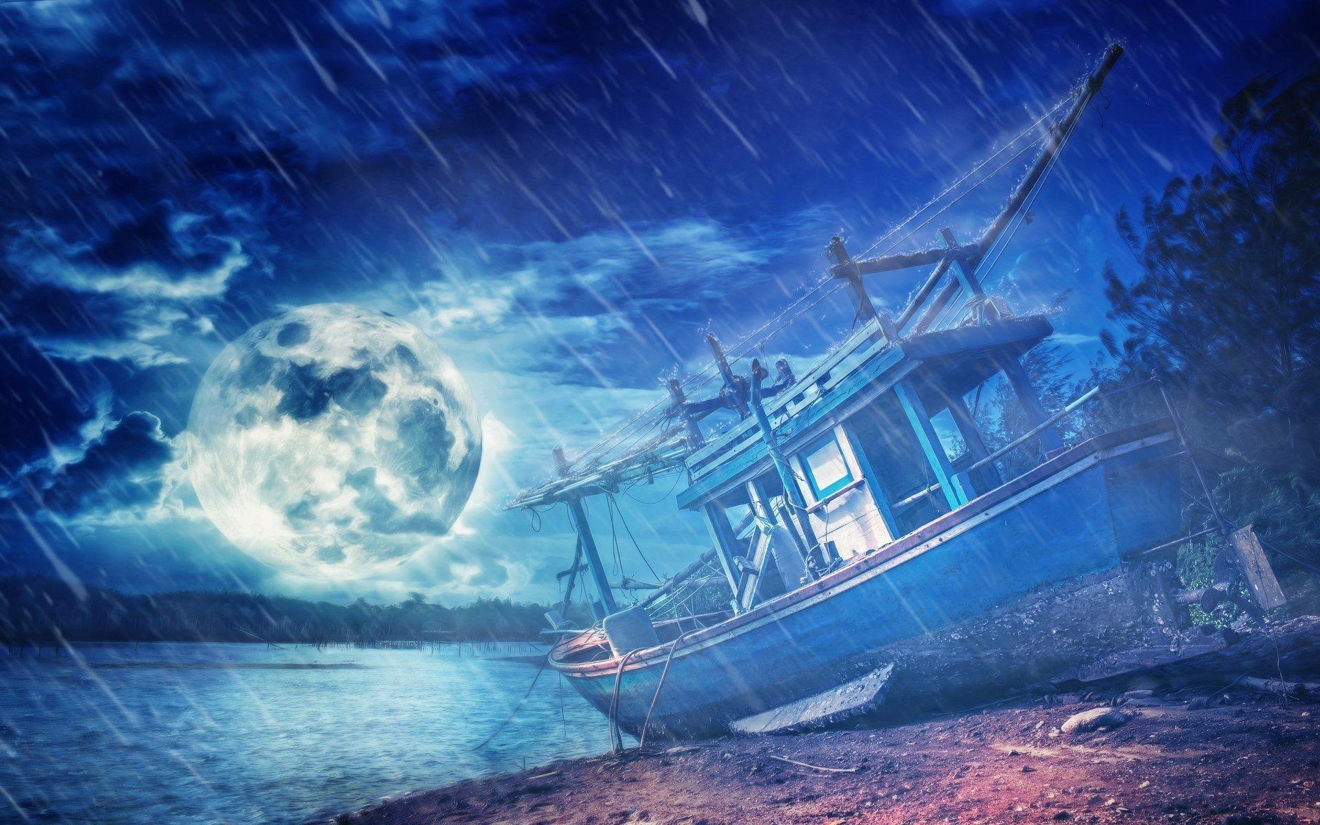Stormy Night Sea Moon Fantasy Wallpaper