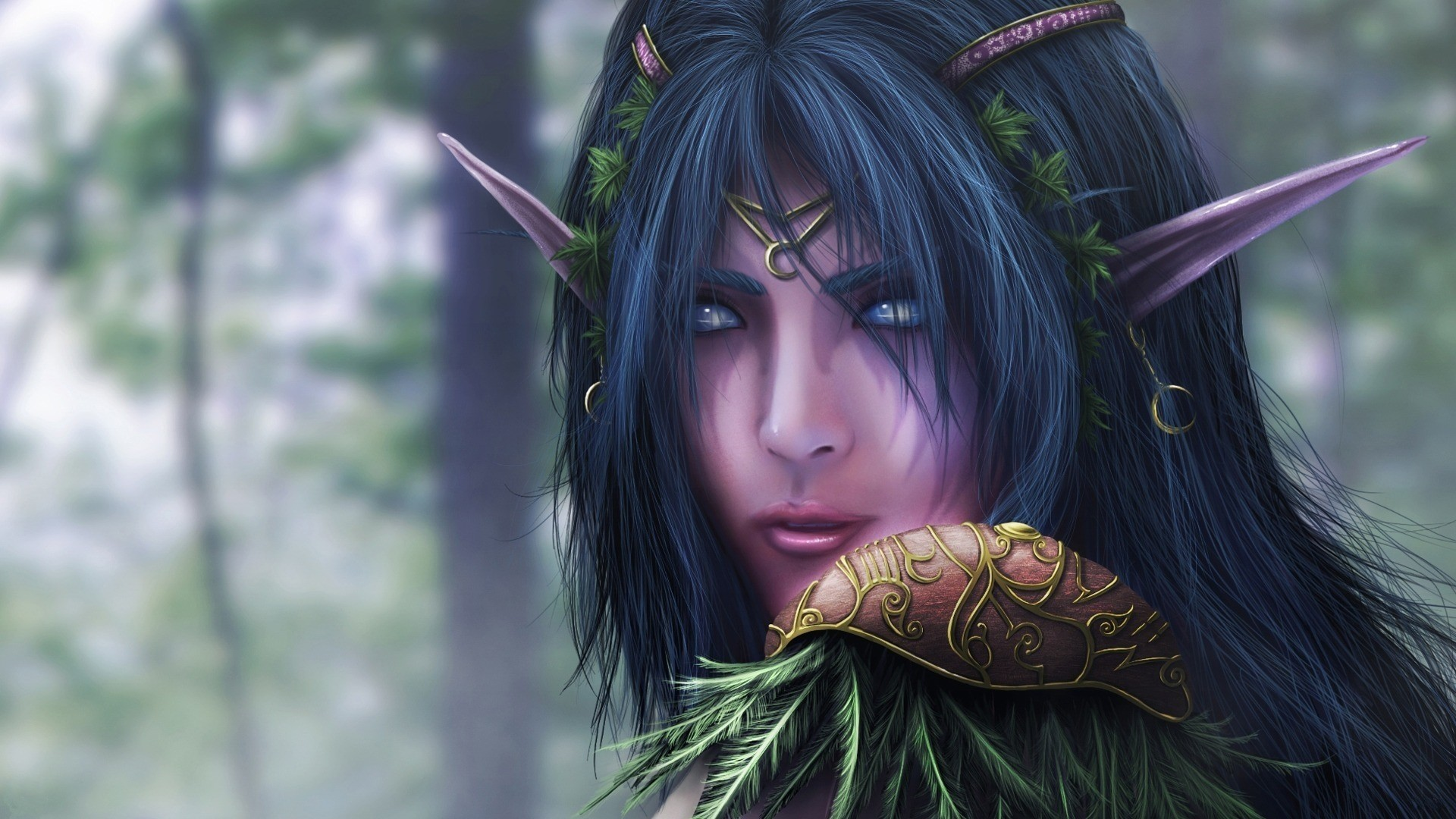 Preview wallpaper warcraft, elf, face, female, ears 1920×1080