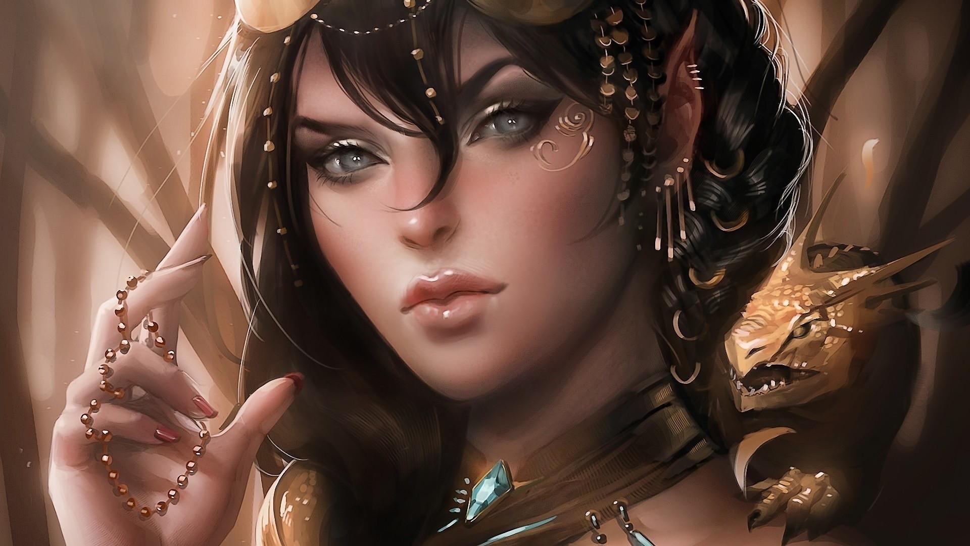 Girl dragon Art Elf jewelry ears wallpaper     120976 .