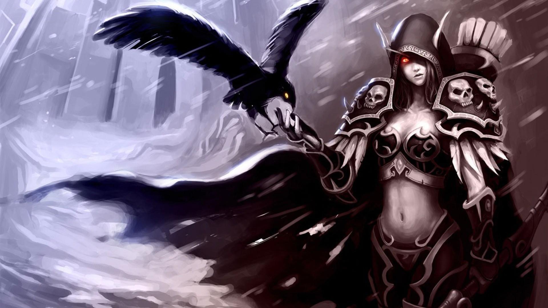 Wallpaper world of warcraft, blood elf, bird, hand, female