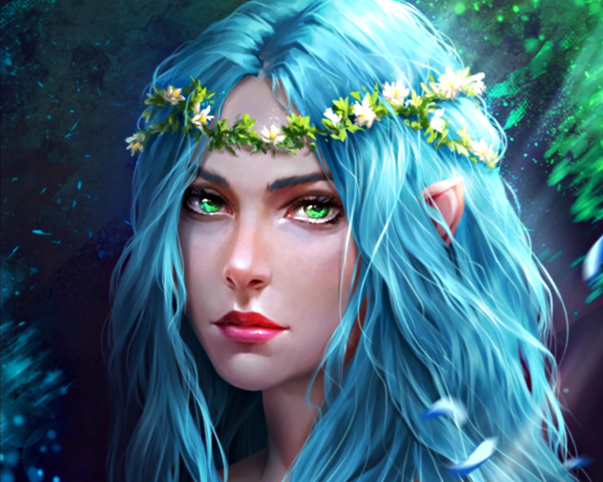 Fantasy – Elf Wreath Blue Hair Girl Woman Fantasy Green Eyes Wallpaper