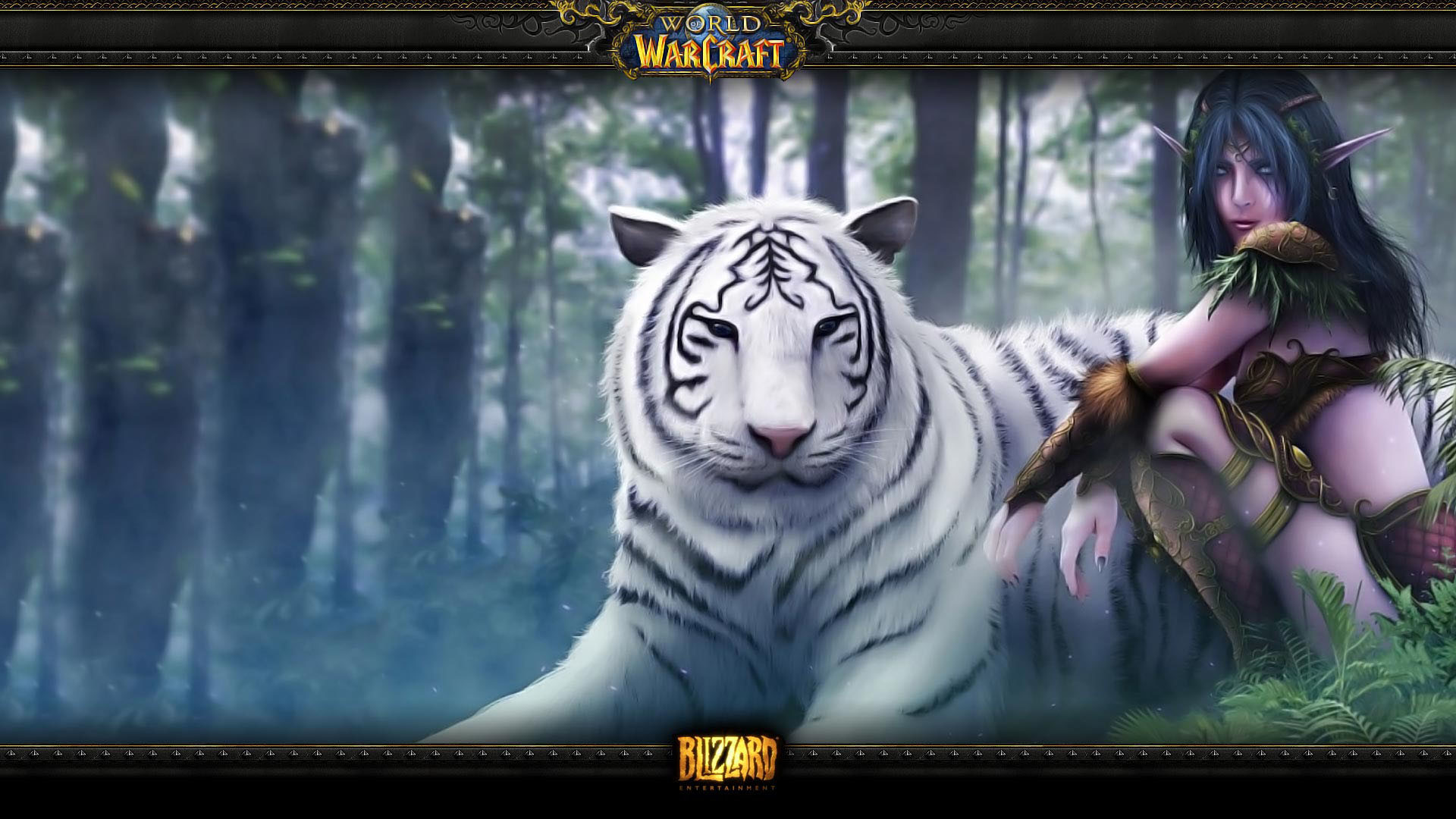 Wow beautiful artwork female night elf with her white tiger pet wallpaper.