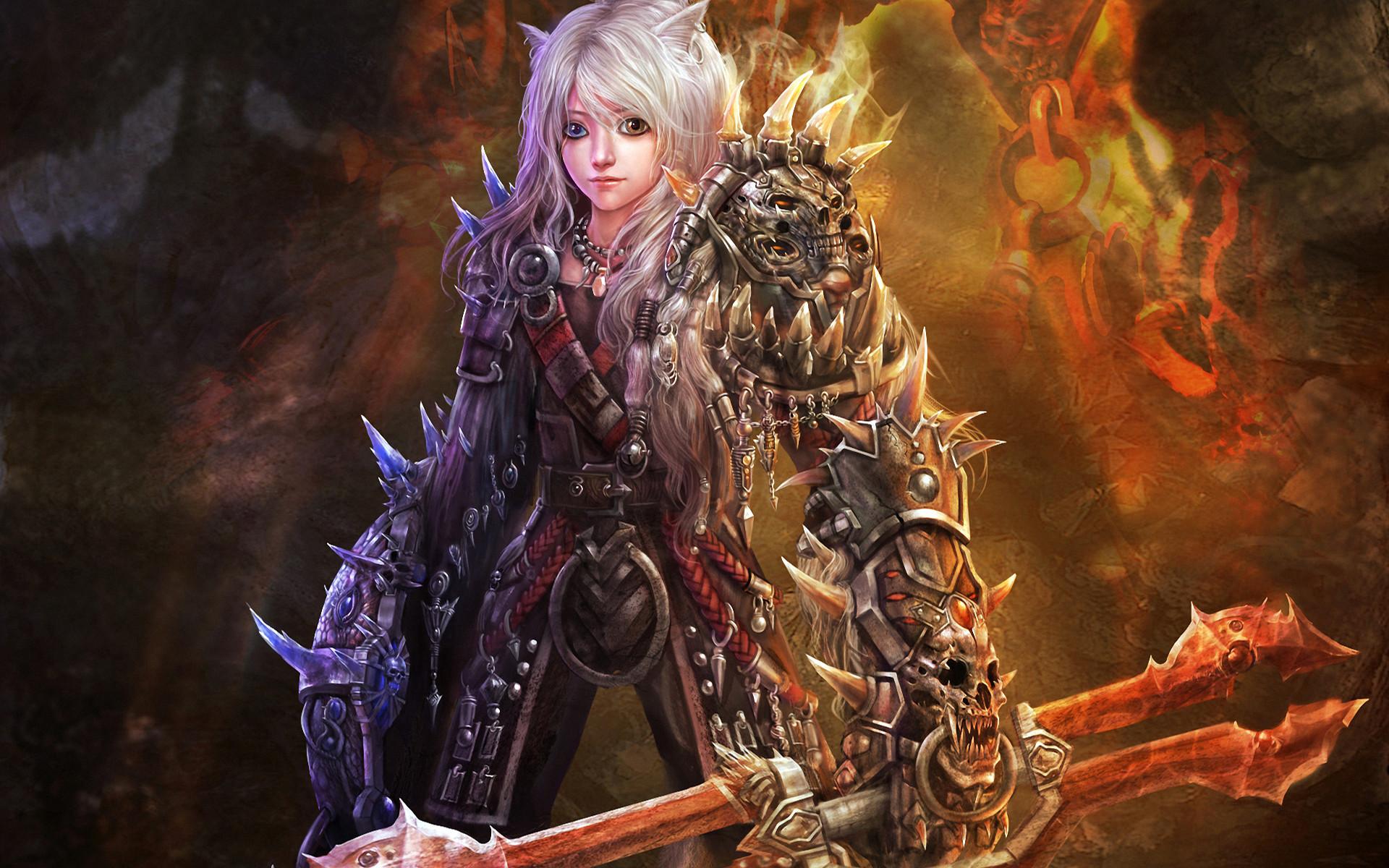 Warriors armor elf girl boy fire flames wallpaper     37908    WallpaperUP