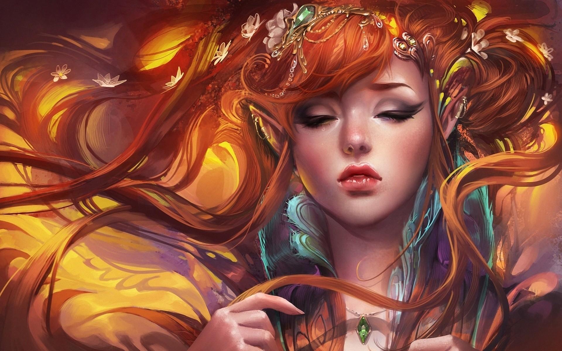 Fantasy – Elf Long Hair Pointed Ears Red Hair Fantasy Woman Girl Wallpaper