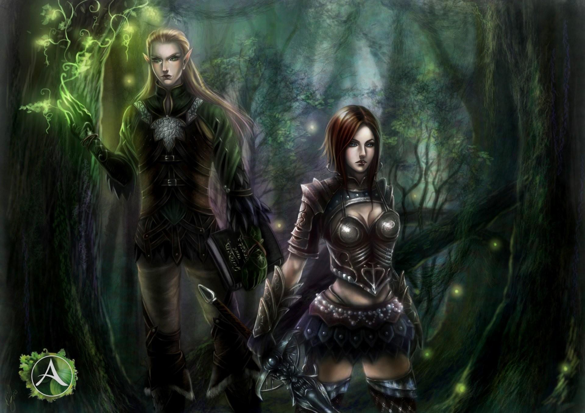 art forest elf girl guy sword