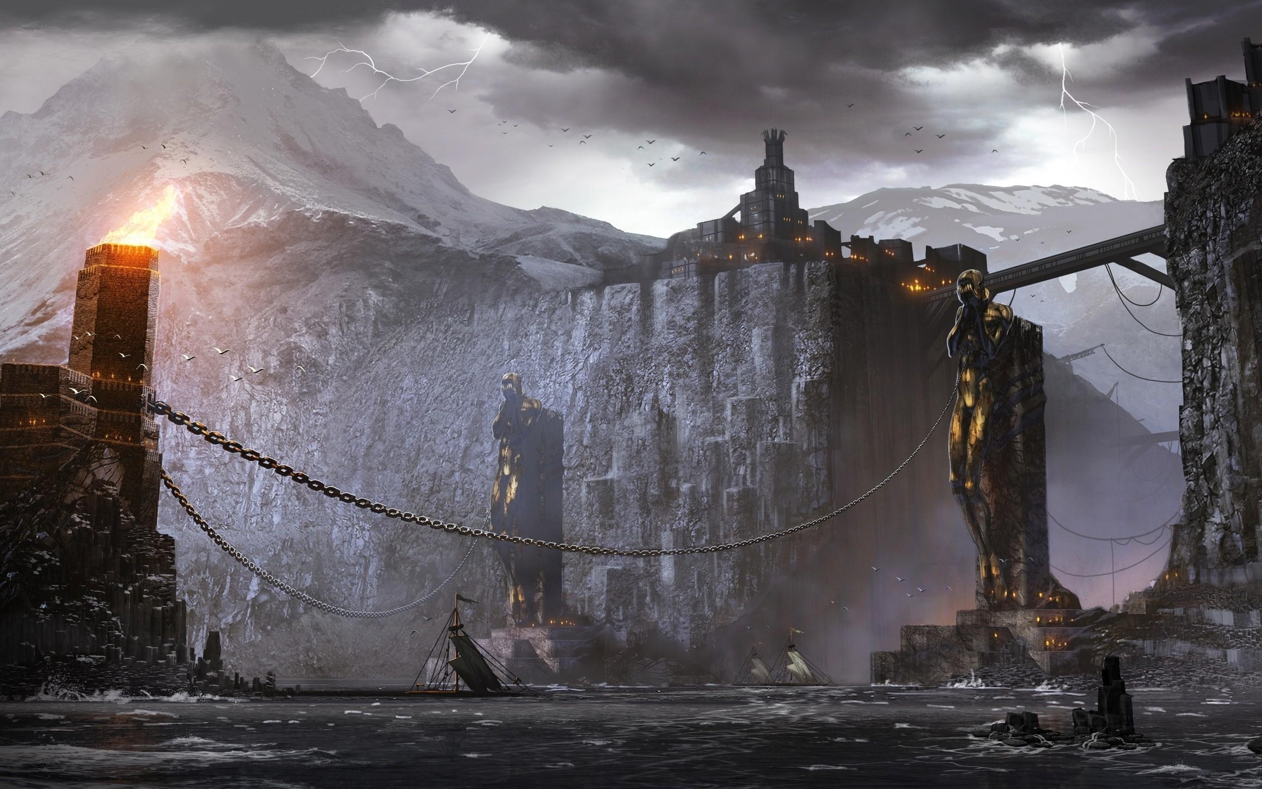 Artwork Castles Chains Dragon Age 2 Fantasy Lightning Ships Video Games
