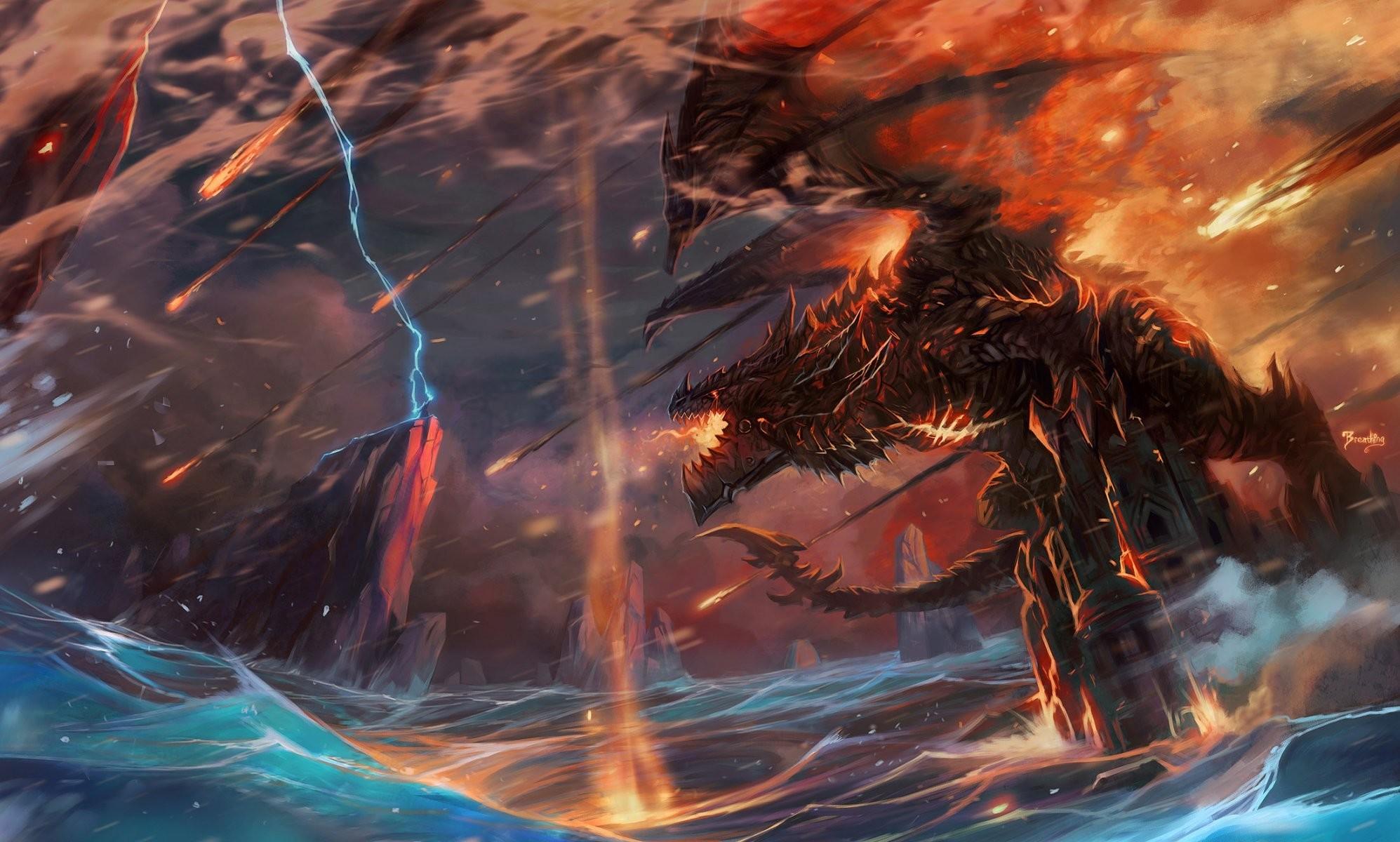 Black-Lightning-Dragon-Wallpaper – art-jian-guo-world-of-warcraft-dragon -man-lightning-castle-waves-fire