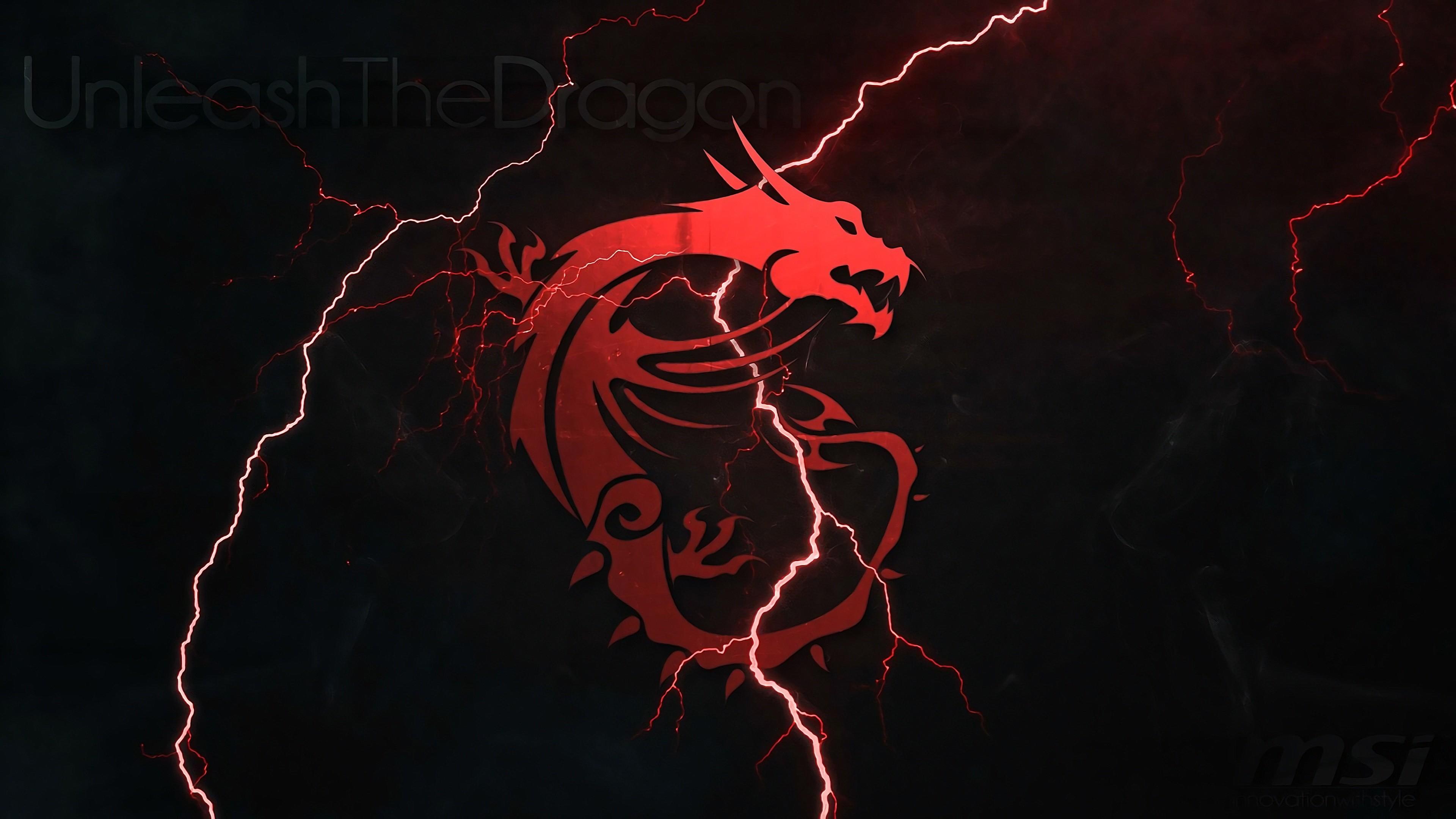 MSI Dragon Logo Lightning 4k wallpaper
